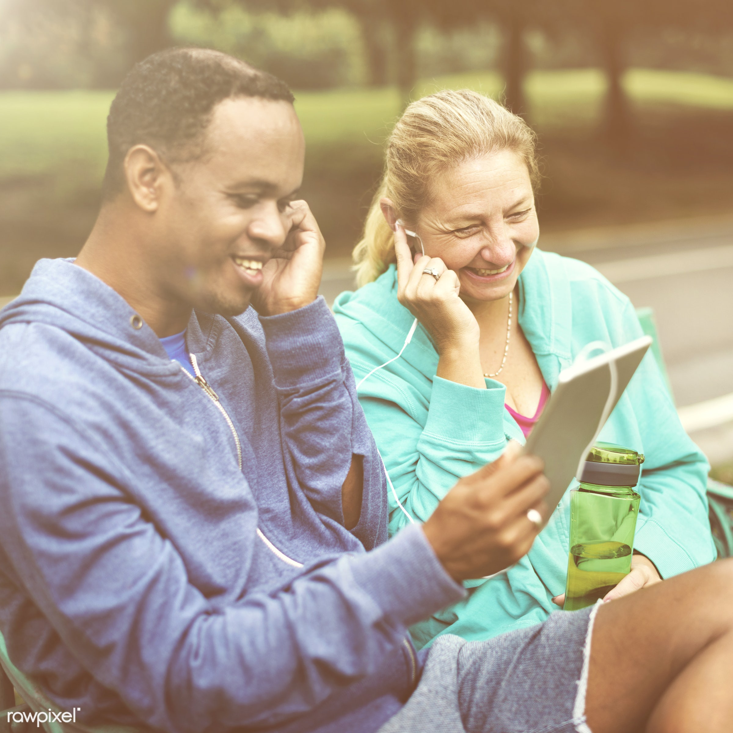 african descent, cheerful, clothing, communication, connection, couple, digital device, digital tablet, exercise, friends,...