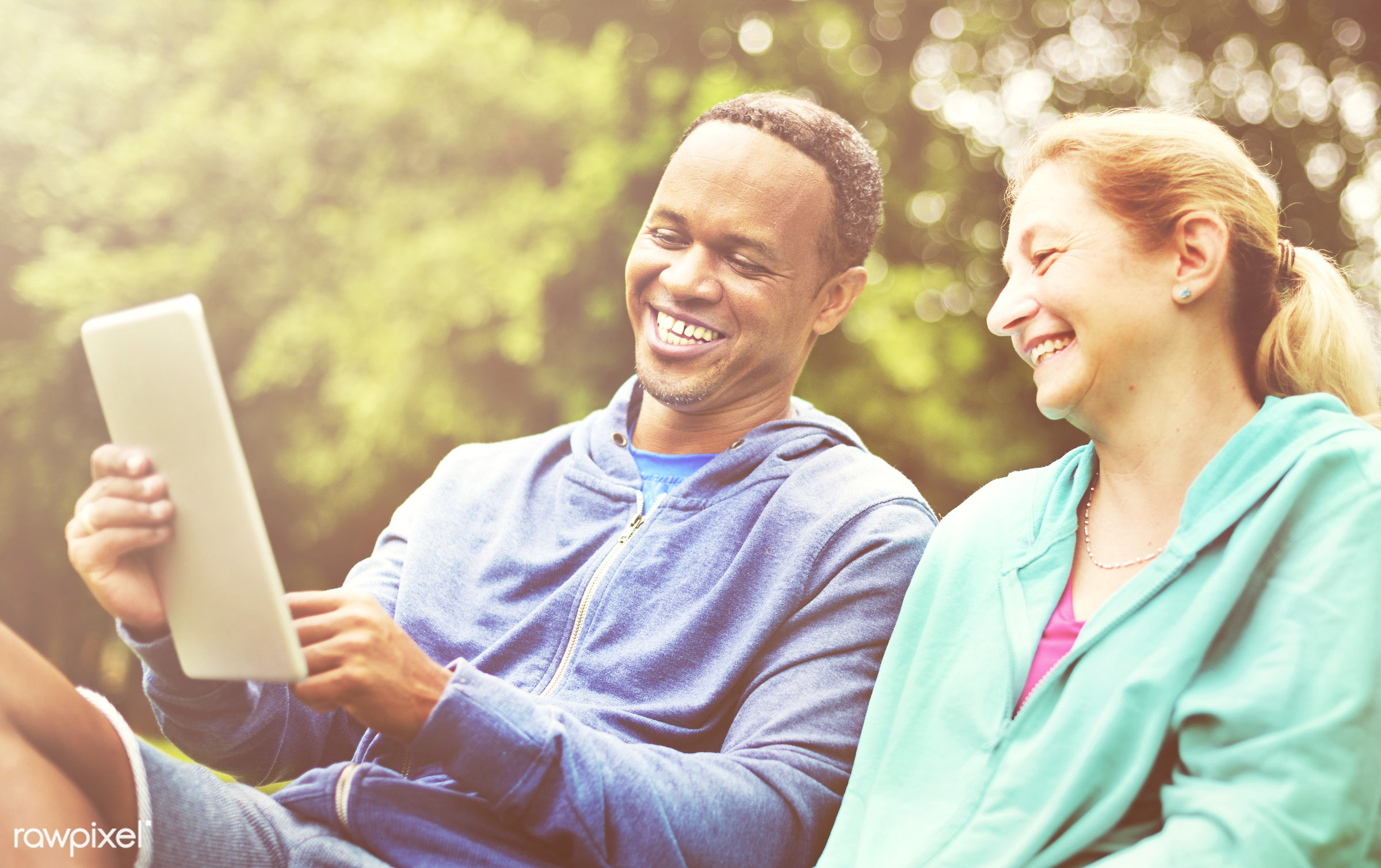 care, african descent, bonding, browsing, cheerful, communication, connect, couple, digital, digital tablet, exercise,...