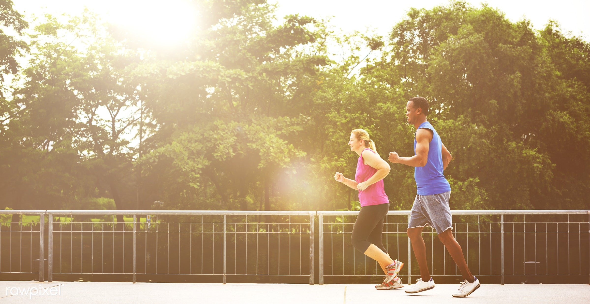 Couple running and working out together - sport, active, activity, adult, african, american, athlete, body, cardio,...