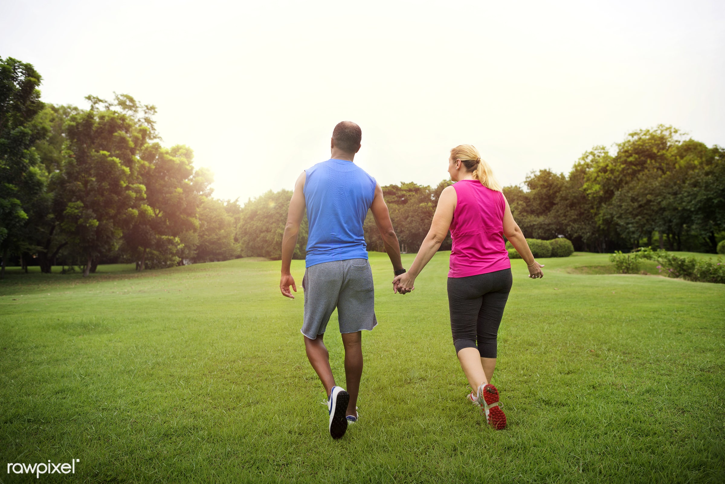 african, african descent, cheerful, clothing, couple, exercise, exercising, form, garden, green, hands, happiness, happy,...