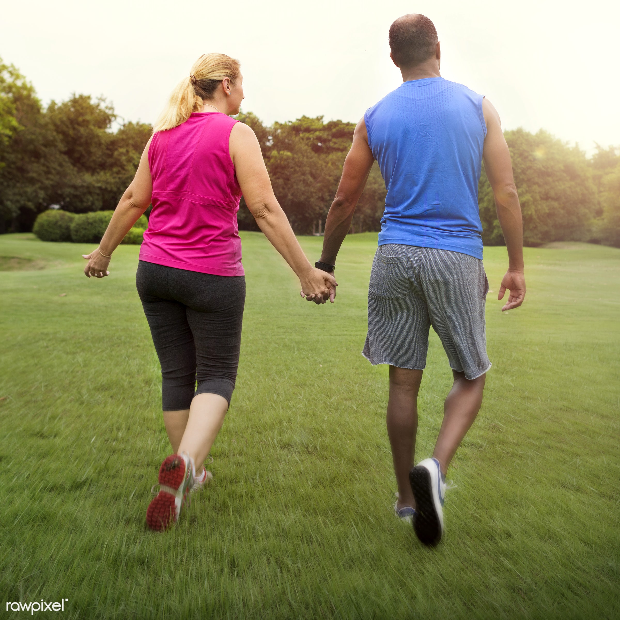african, african descent, caucasian, cheerful, clothing, couple, exercise, exercising, form, garden, green, hands, happiness...
