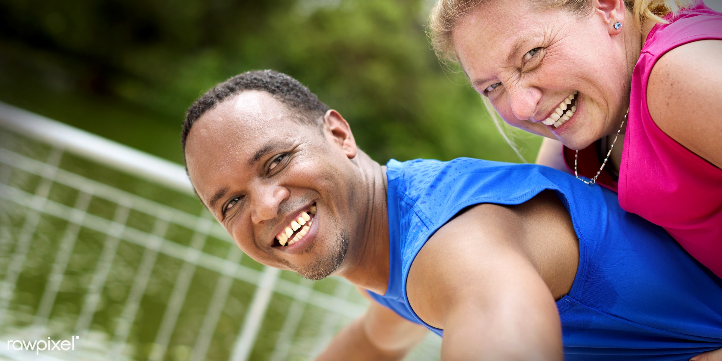 adult, african, african descent, bonding, caucasian, cheerful, clothing, couple, exercise, fitness, form, friend, friendship...