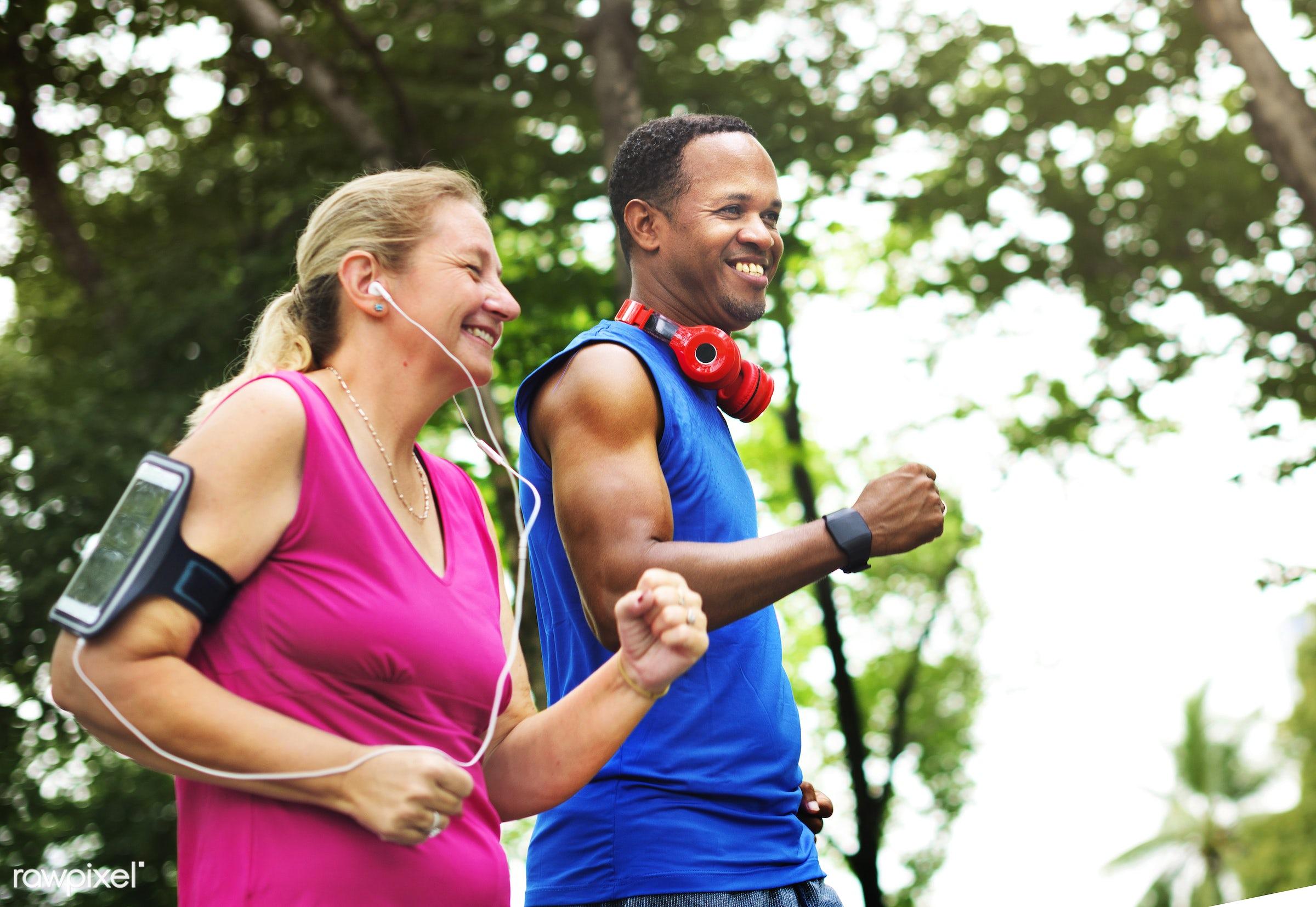 activity, bonding, cheerful, clothing, couple, enjoyment, exercise, exercising, fitness, freshness, happiness, happy, health...