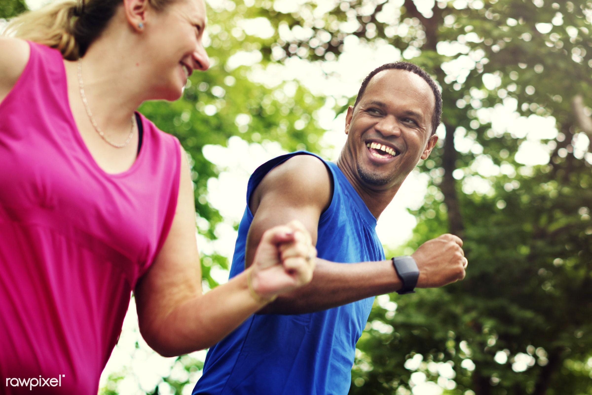 active, athletic, boyfriend, cheerful, coach, couple, enjoyment, exercise, fit, fitness, friends, friendship, girlfriend,...