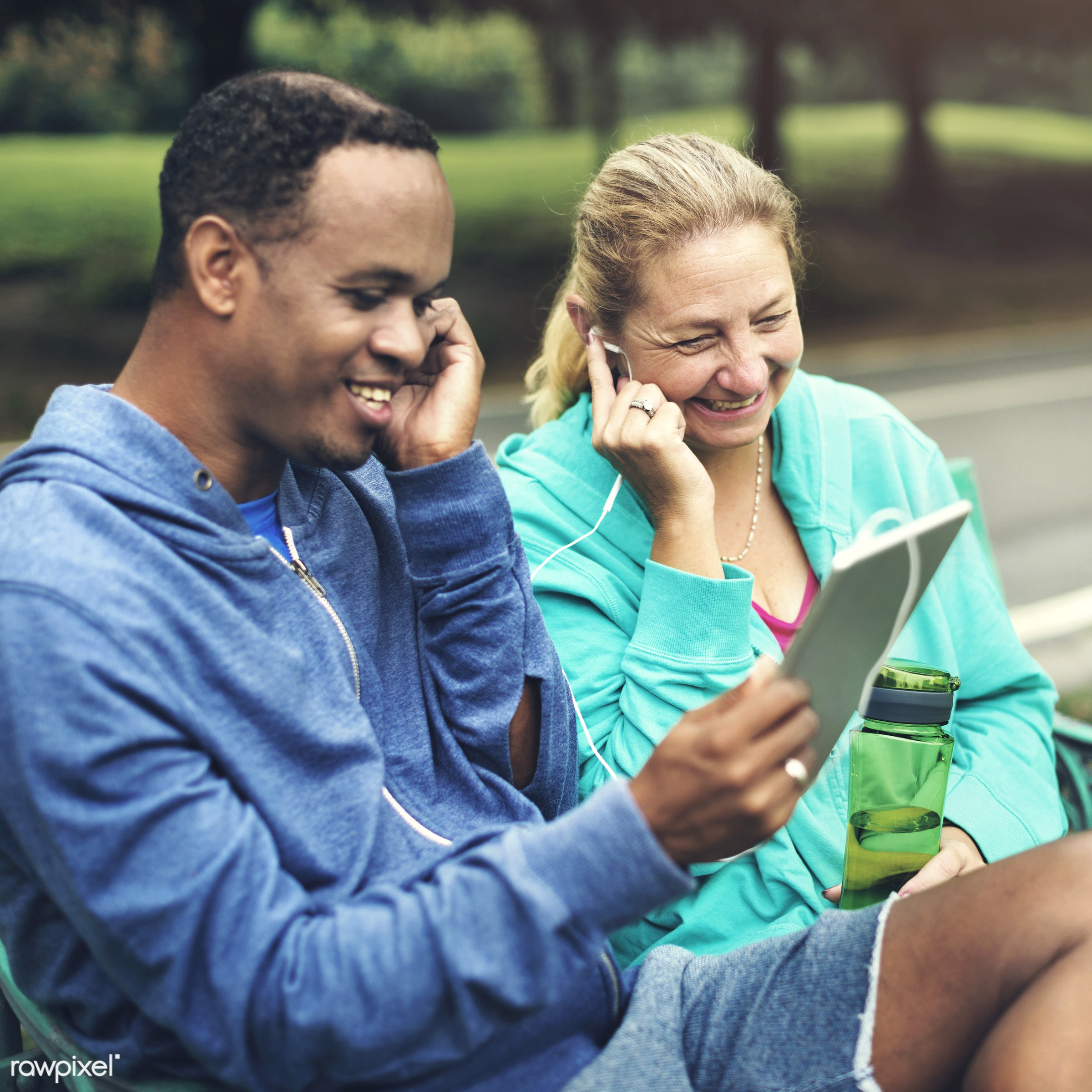 romance, african descent, cheerful, clothing, communication, connection, couple, digital device, digital tablet, exercise,...