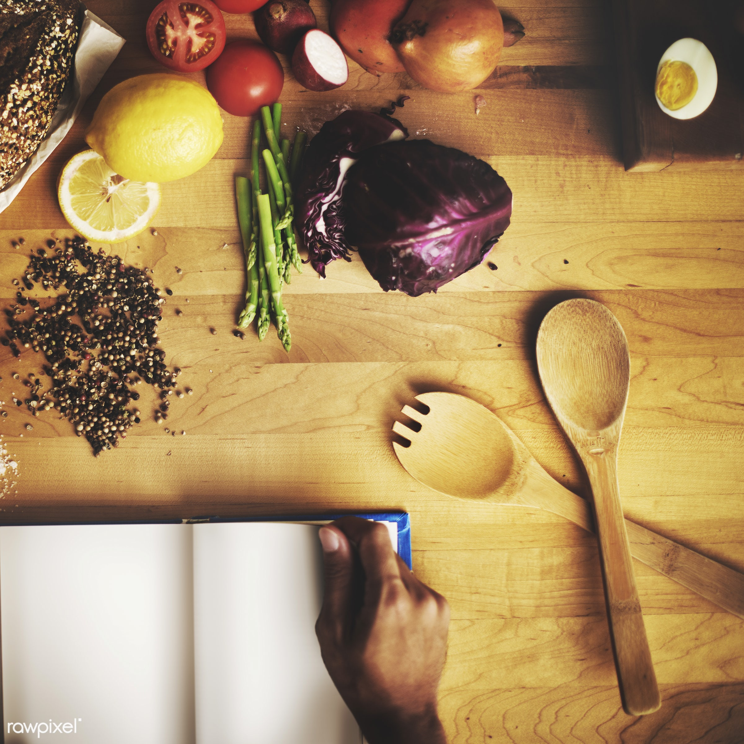 aerial view, blank, book, bread, chef, cook, cooking, copy space, cuisine, dish, eggs, equipment, find, food, human, indoors...