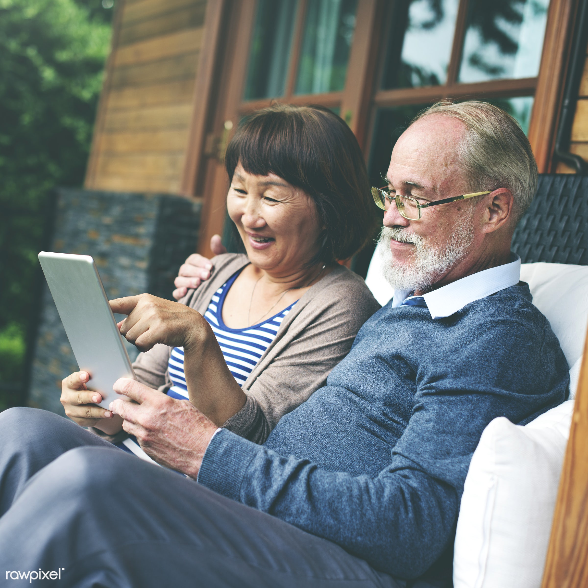 dating, adult, bonding, chair, cheerful, couple, device, digital, door, female, garden, grandfather, grandmother, happiness...