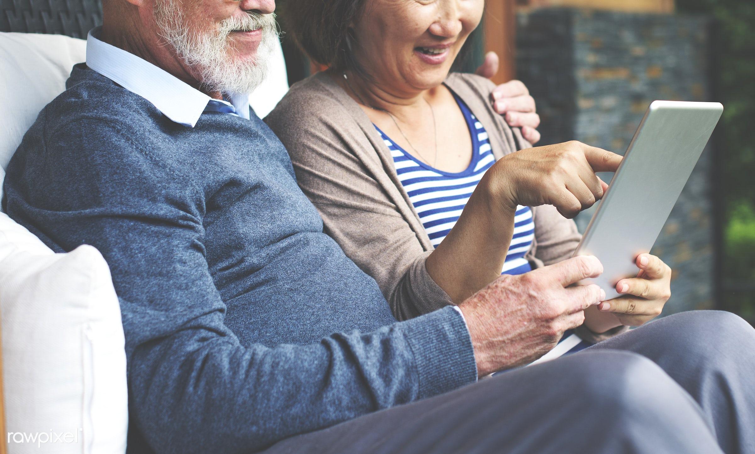 adult, bonding, chair, cheerful, couple, dating, device, digital, door, female, garden, grandfather, grandmother, happiness...