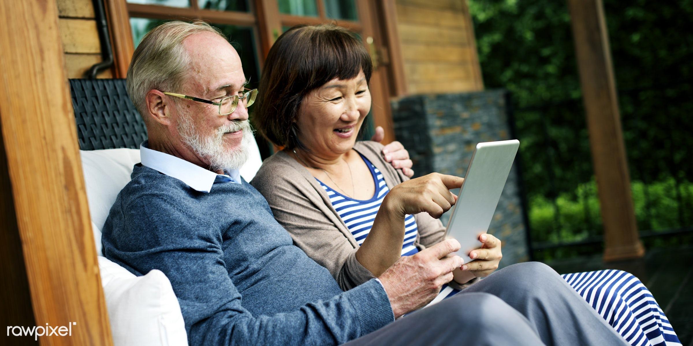 dating, adult, bonding, chair, cheerful, couple, device, digital, door, female, garden, grandfather, grandmother, happiness...