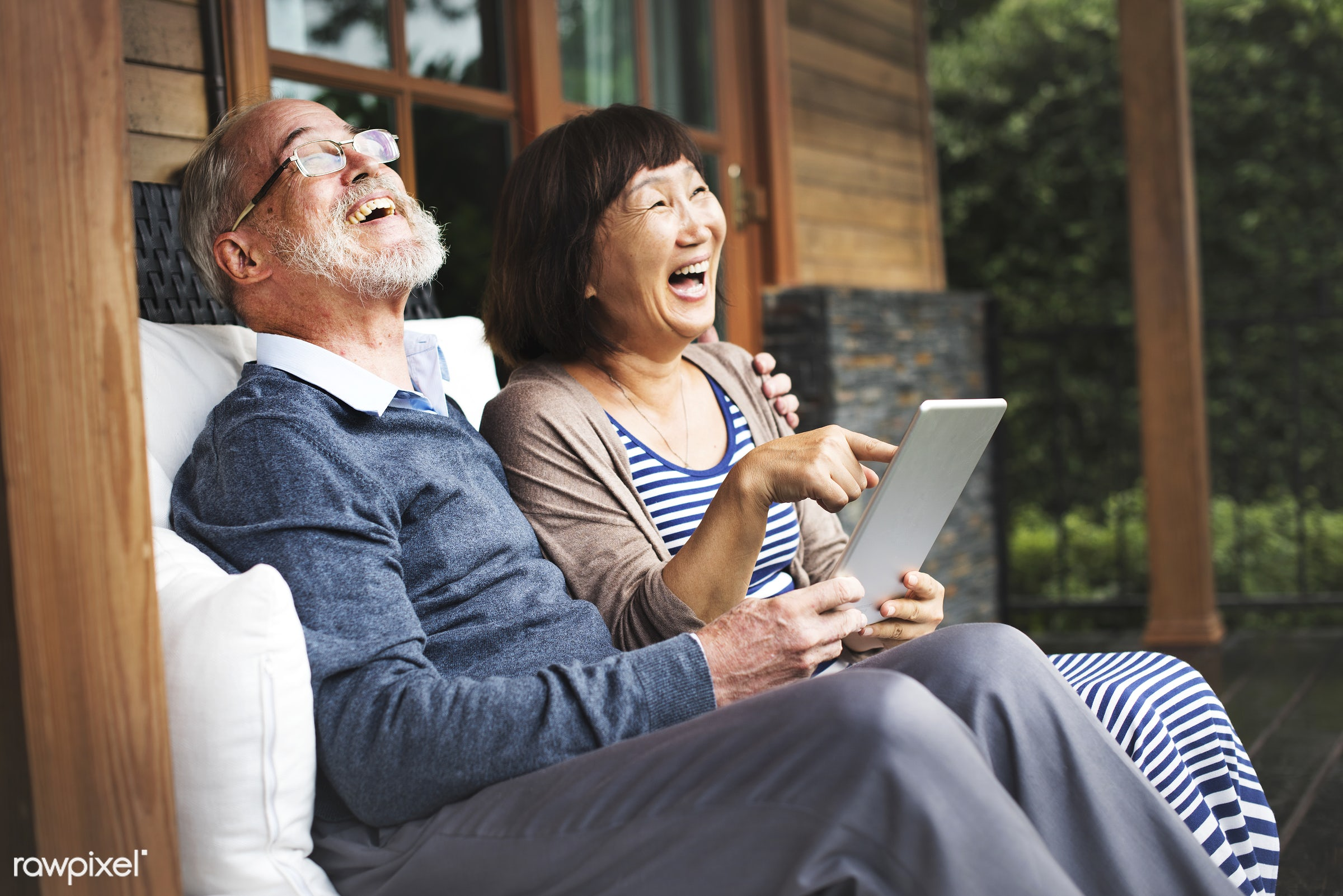 adult, asian ethnicity, bonding, caucasian, chair, cheerful, couple, dating, device, digital, door, female, garden,...
