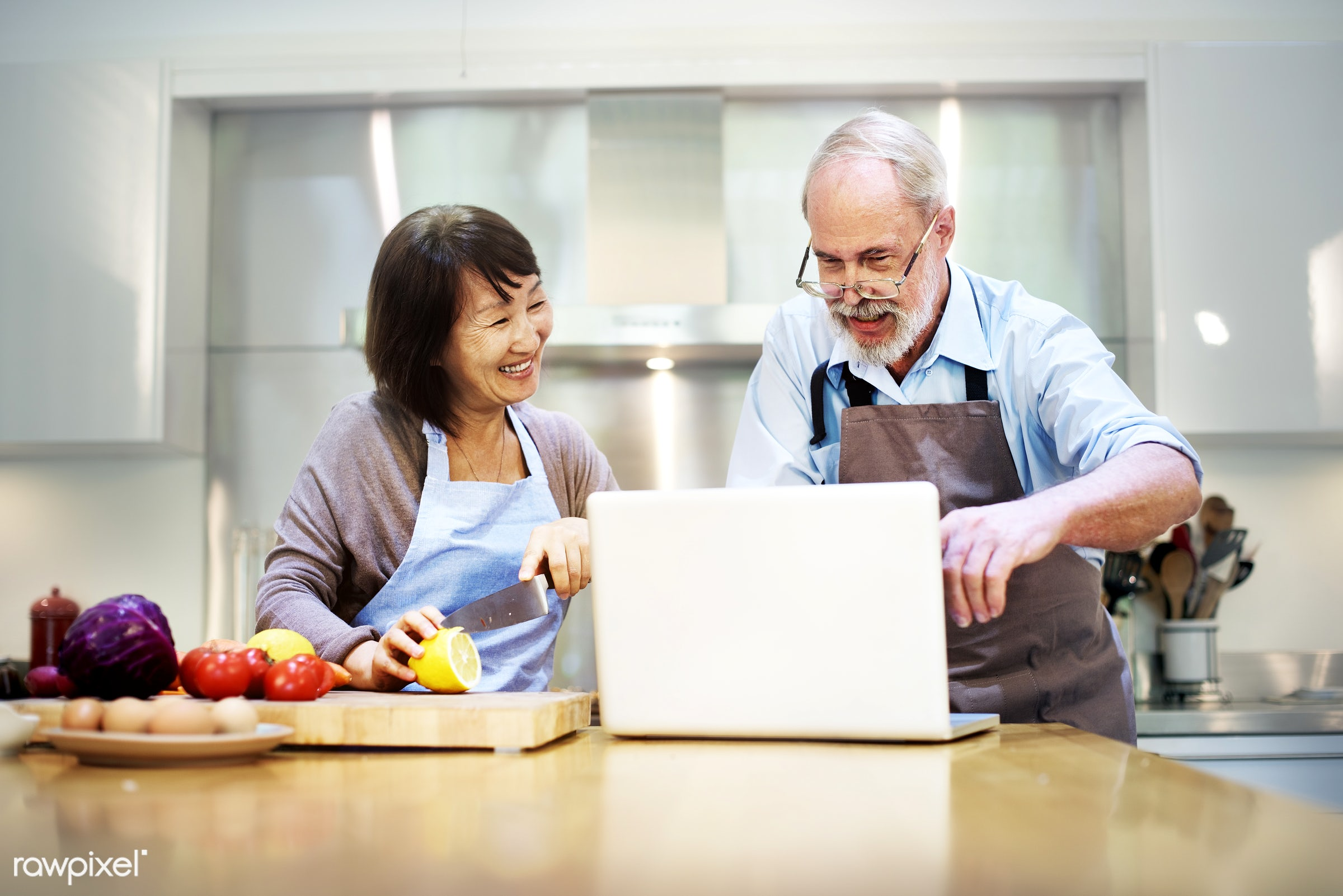 activity, asian ethnicity, bonding, casual, cheerful, chef, communication, connection, cookery, cookhouse, cooking, couple,...
