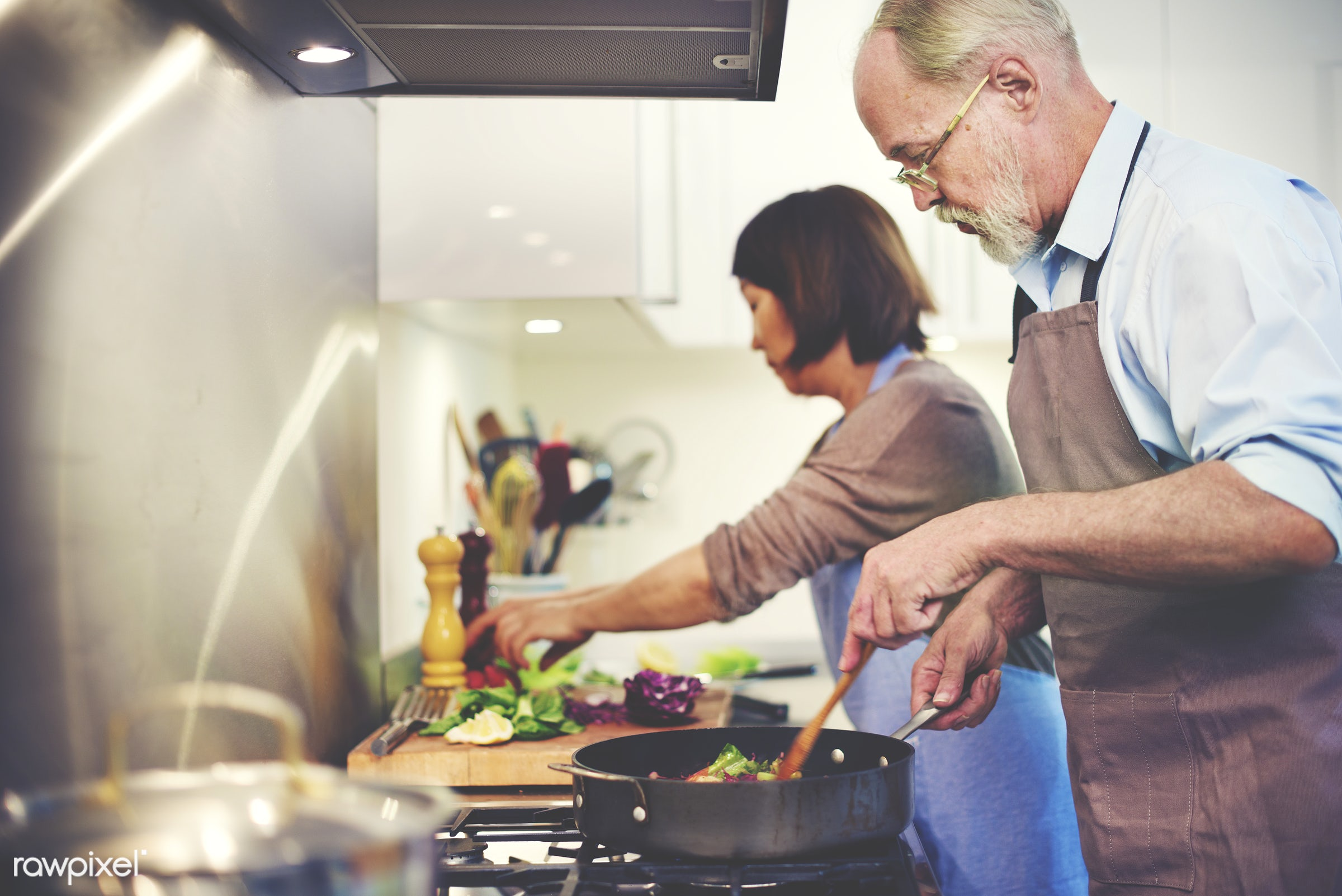 cooking, kitchen, chef, together, organic, nutrition, grandmother, food, woman, adult, bonding, bowl, cook, couple, cuisine...
