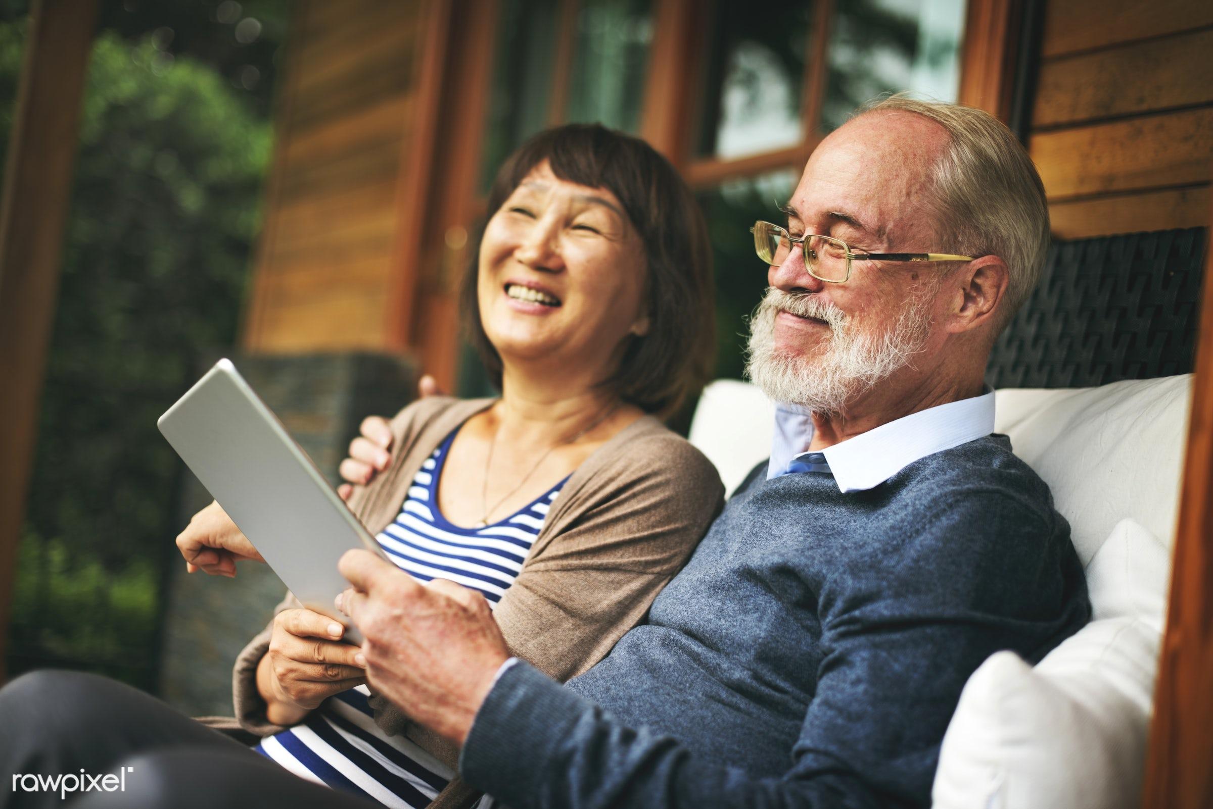 dating, adult, asian ethnicity, bonding, caucasian, chair, cheerful, couple, device, digital, door, female, garden,...