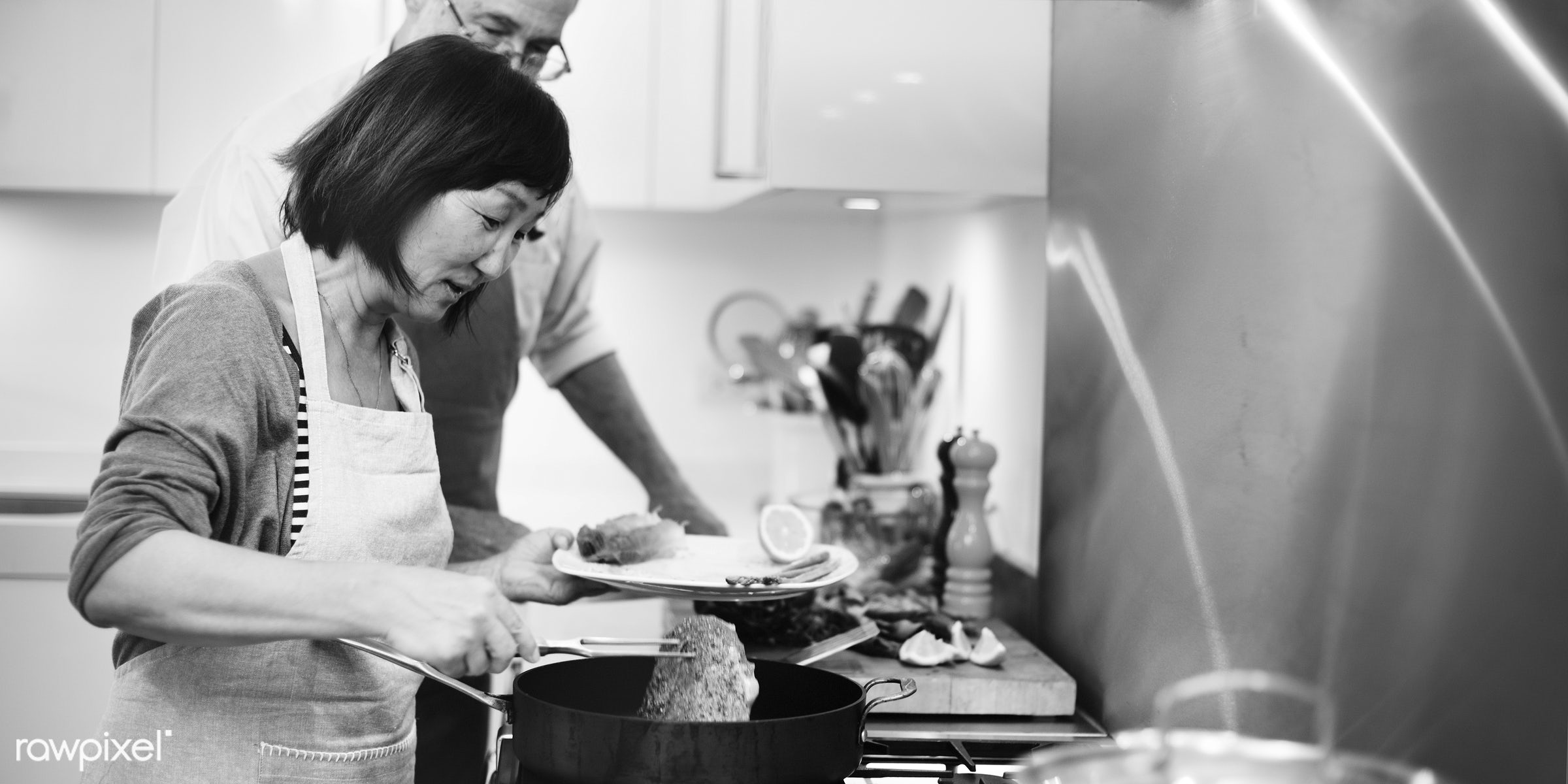 cook, couple, grandfather, joy, adult, bonding, bowl, chef, cooked, cooking, cuisine, culinary, dinner, enjoyment, equipment...
