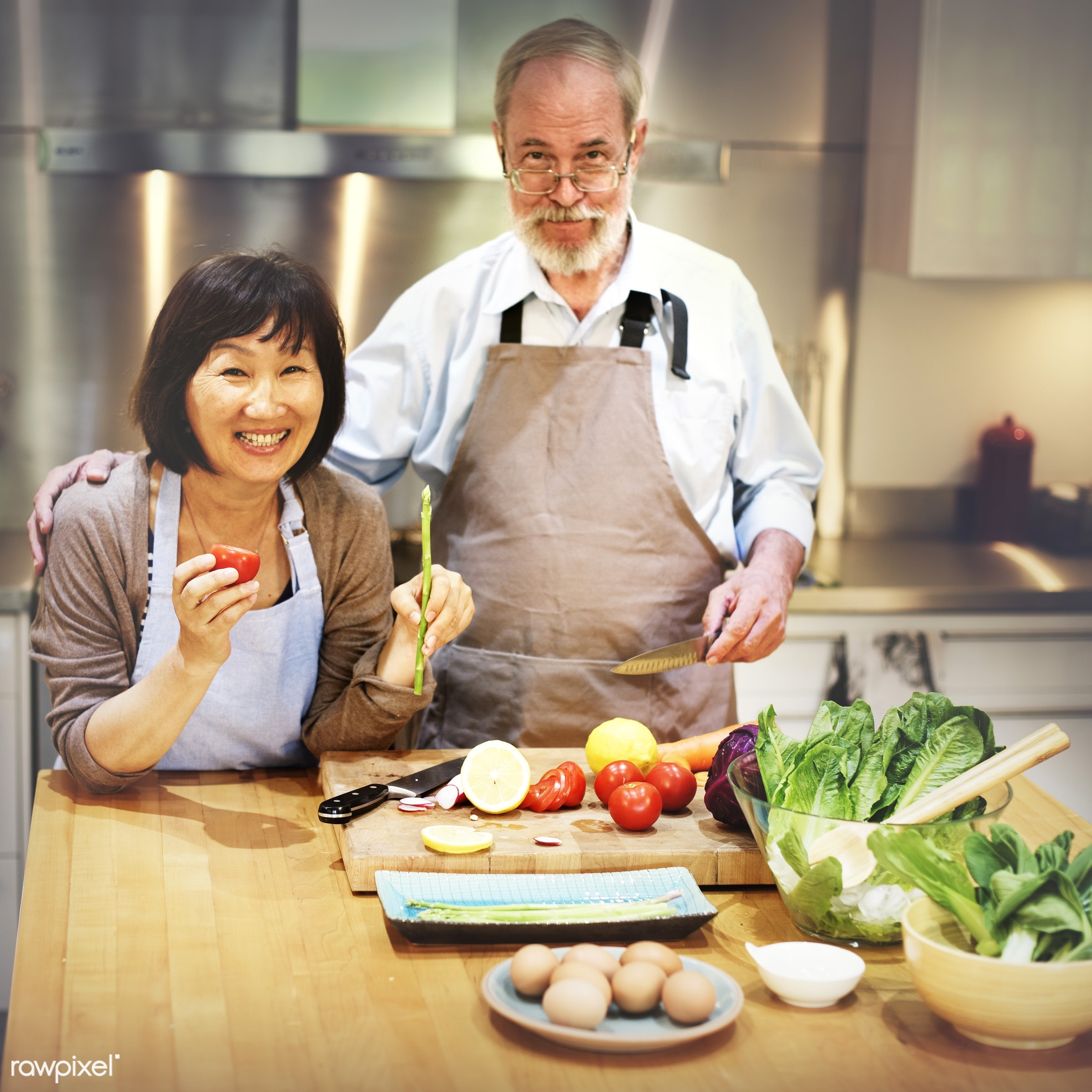 older, activity, apron, bonding, breakfast, casual, cheerful, chef, cookery, cookhouse, cooking, couple, cuisine, culinary,...