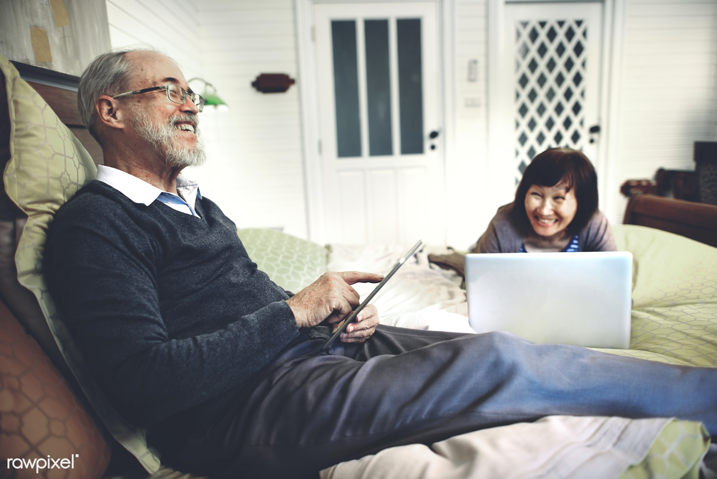house, tablet, grandmother, travel, woman, adult, asian ethnicity, bonding, caucasian, cheerful, connecting, connection,...