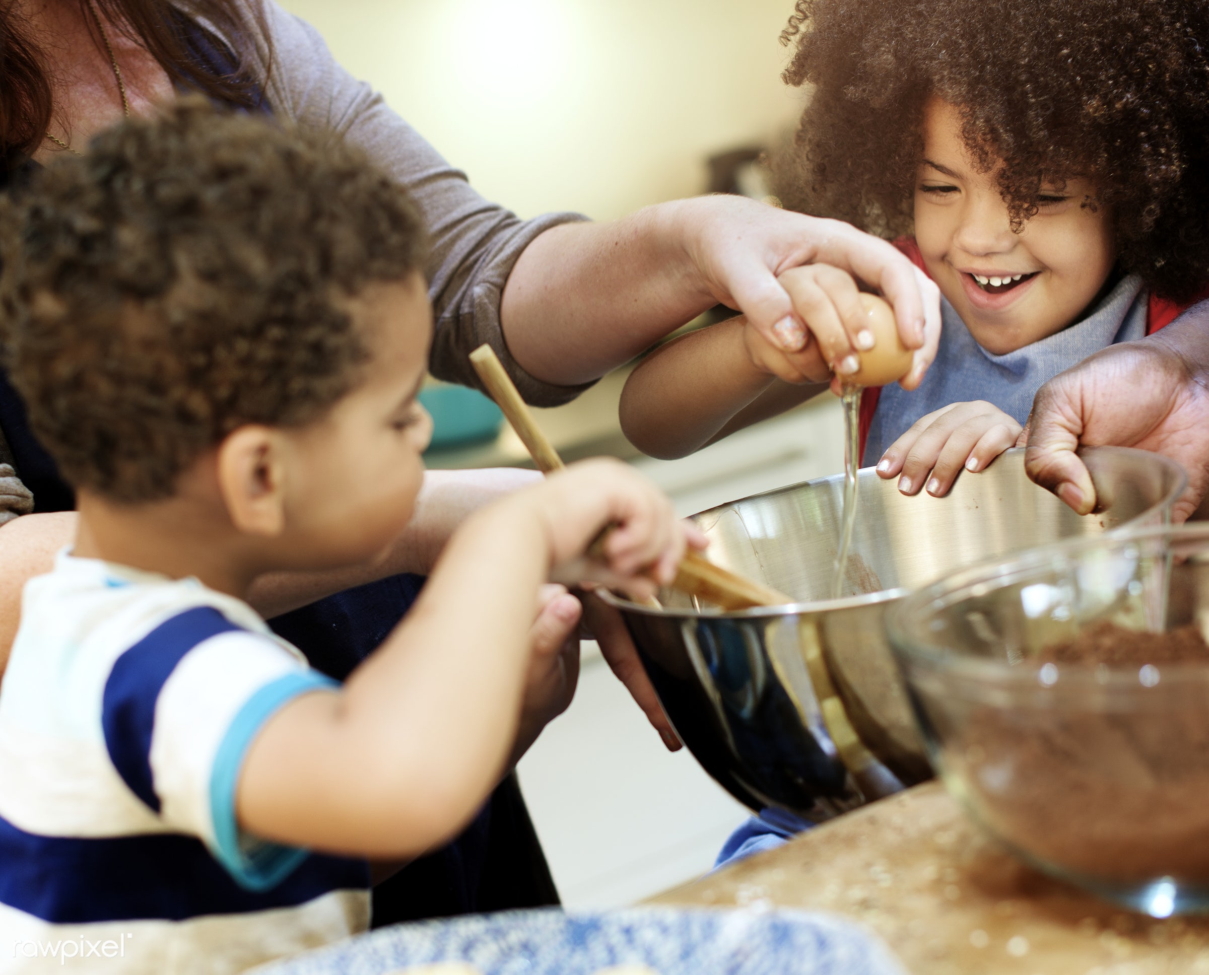 Family baking together in the kitchen - activity, african, african american, african descent, bakery, baking, black, bonding...