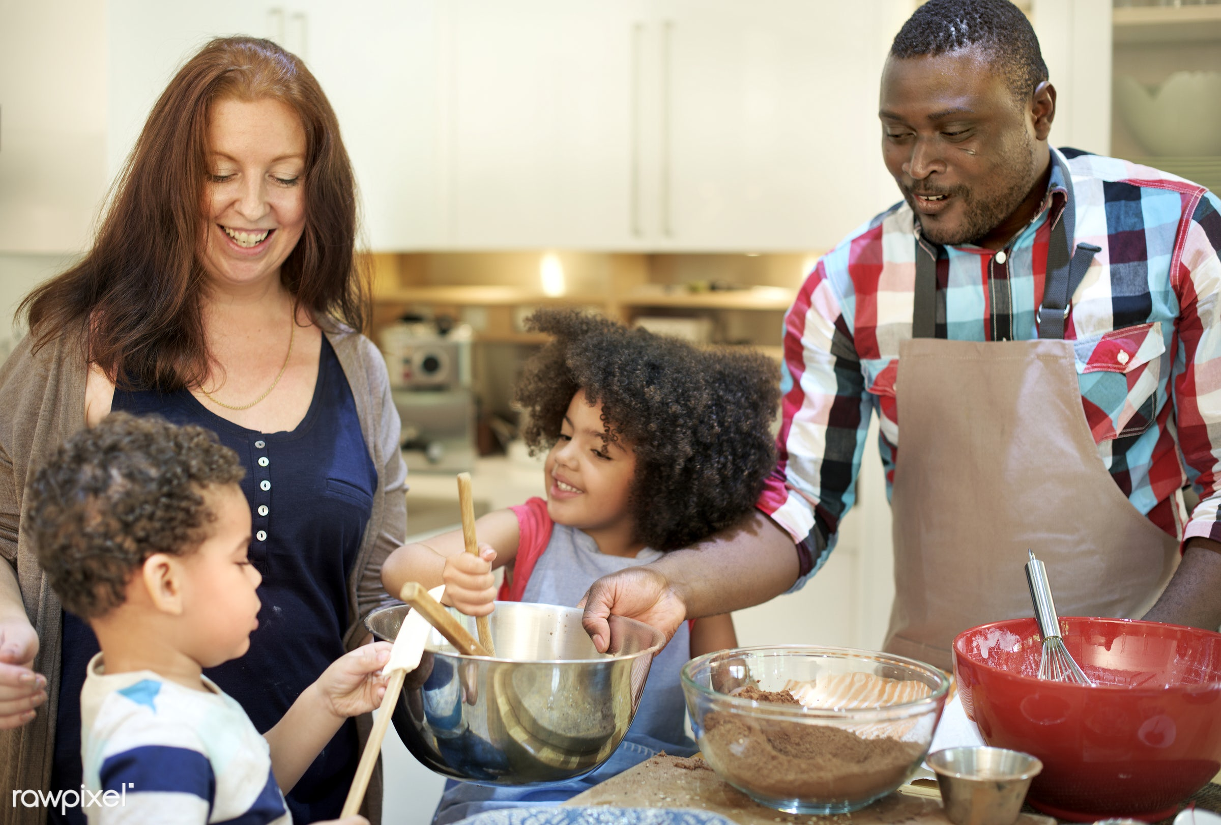 Family baking together in the kitchen - cooking, activity, african, african american, african descent, bakery, baking, black...