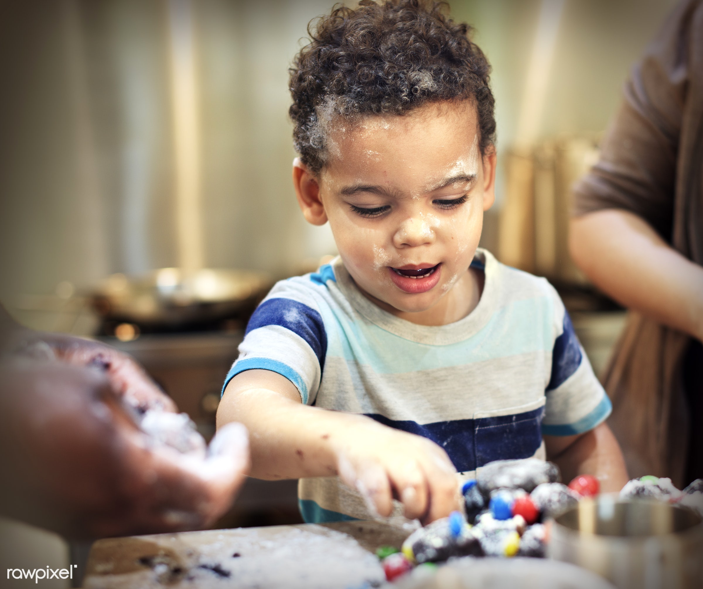 activity, african, african descent, bake, baker, bakery, biscuit, boy, casual, cheerful, chef, child, childhood, children,...