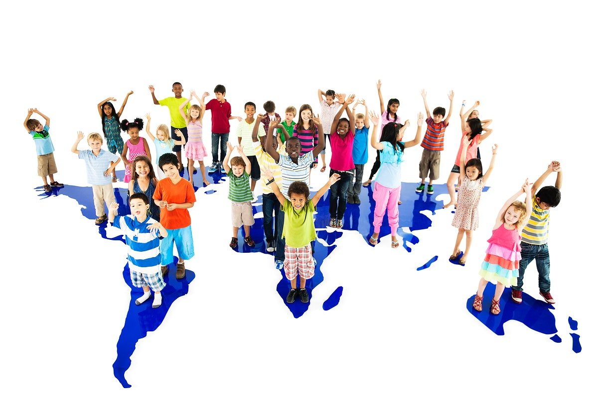 Group of diverse kids standing together with arms raised