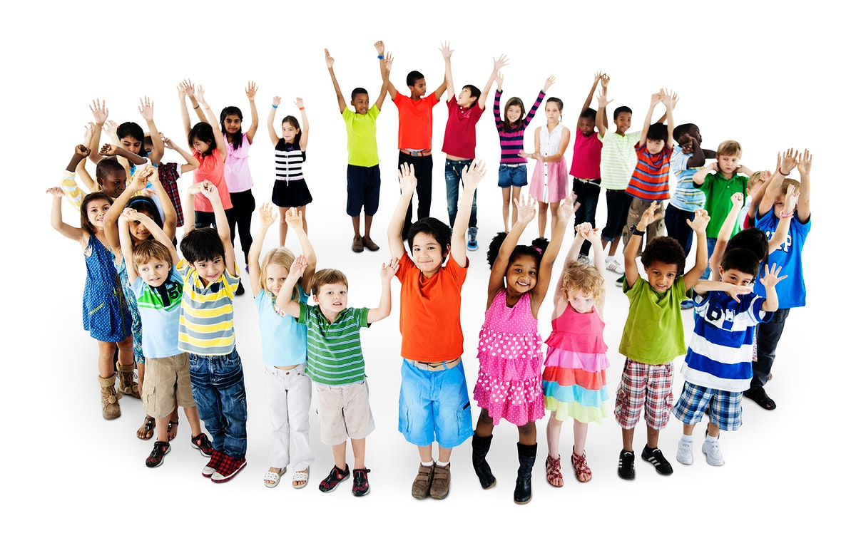 Group of diverse kids standing in circle with arms raised isolated on white