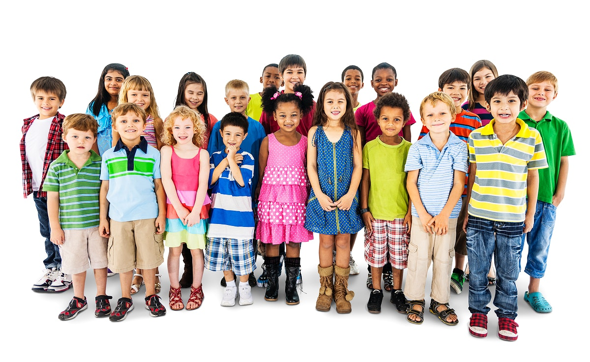Group of diverse kids standing together isolated on white