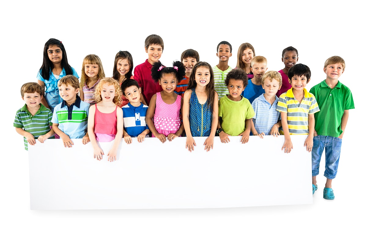 Group of diverse kids standing together