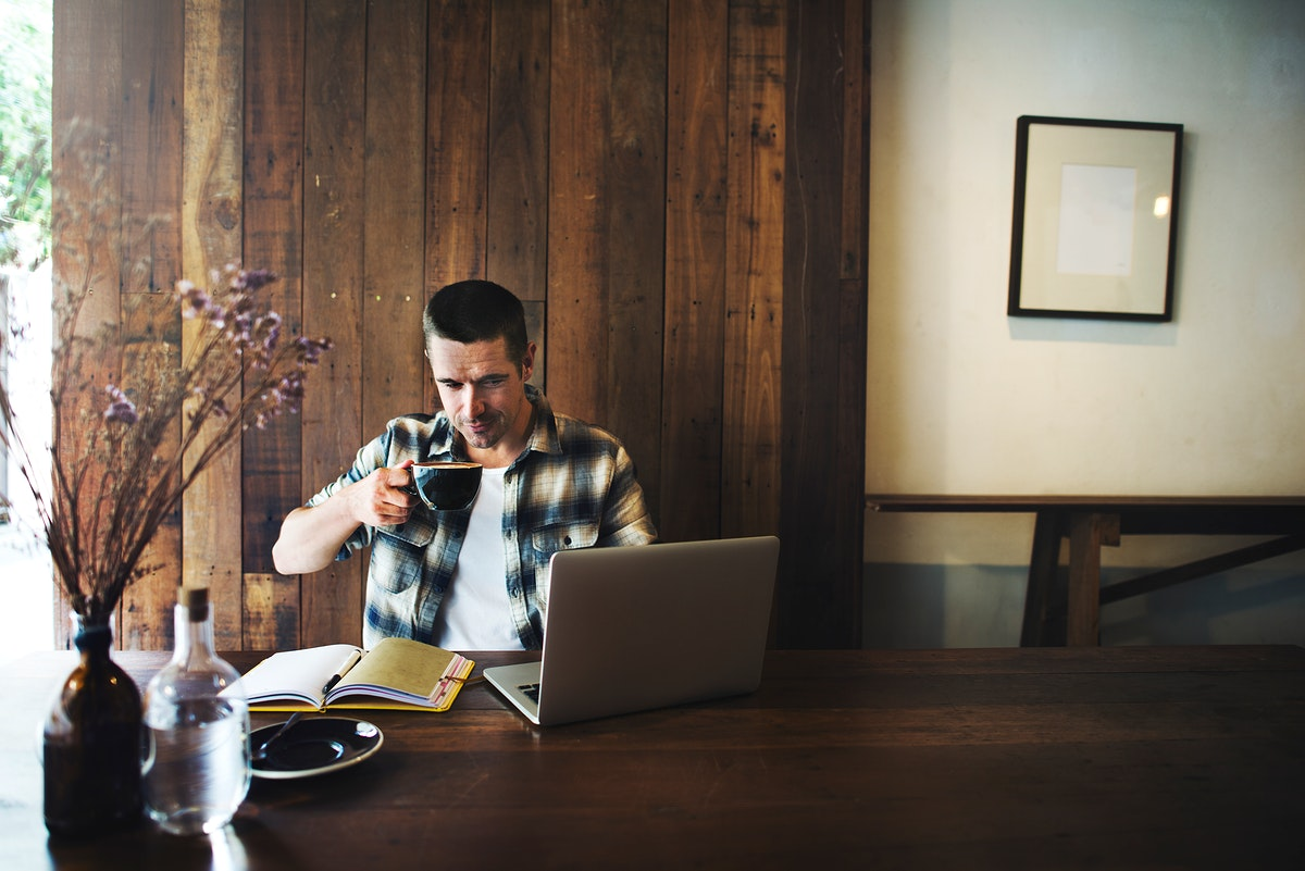 A man having a coffee