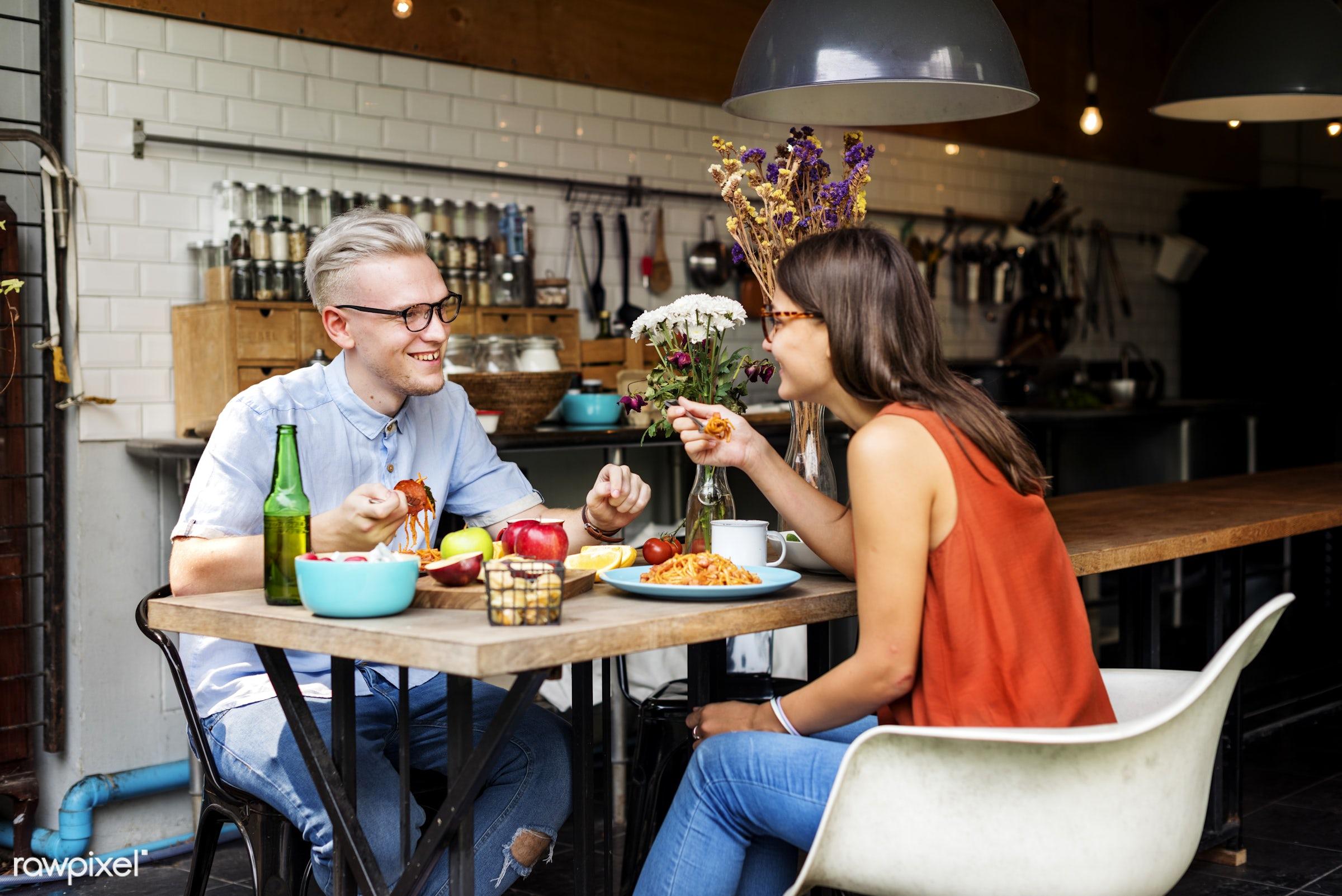 breakfast, casual, activity, apple, boyfriend, cheerful, couple, cuisine, culinary, dietary, dining, dinner, eating,...
