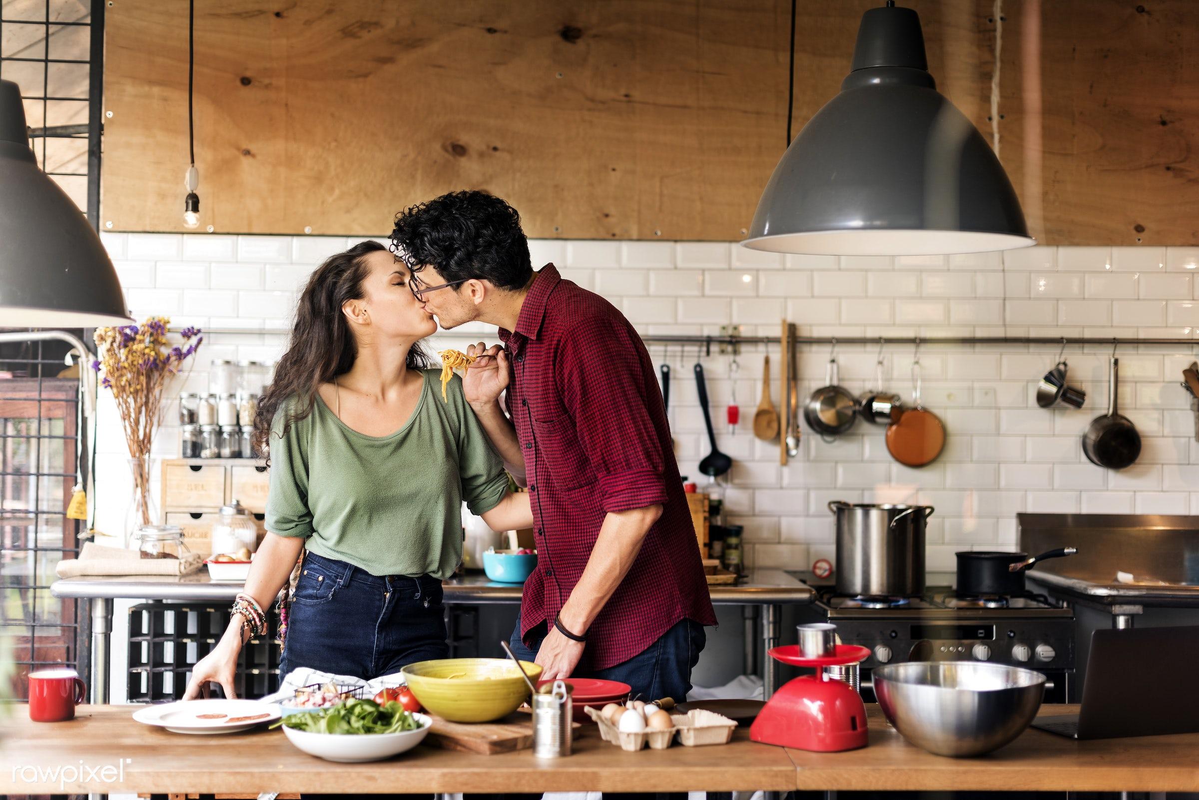 equipment, kiss, activity, apples, bonding, boyfriend, breakfast, casual, cheerful, couple, cuisine, culinary, dietary,...