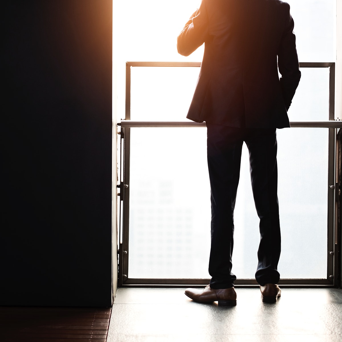 Rear view of businessman silhouette