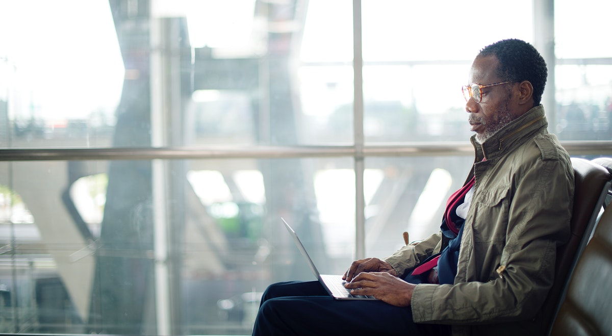 Businessman is using computer laptop