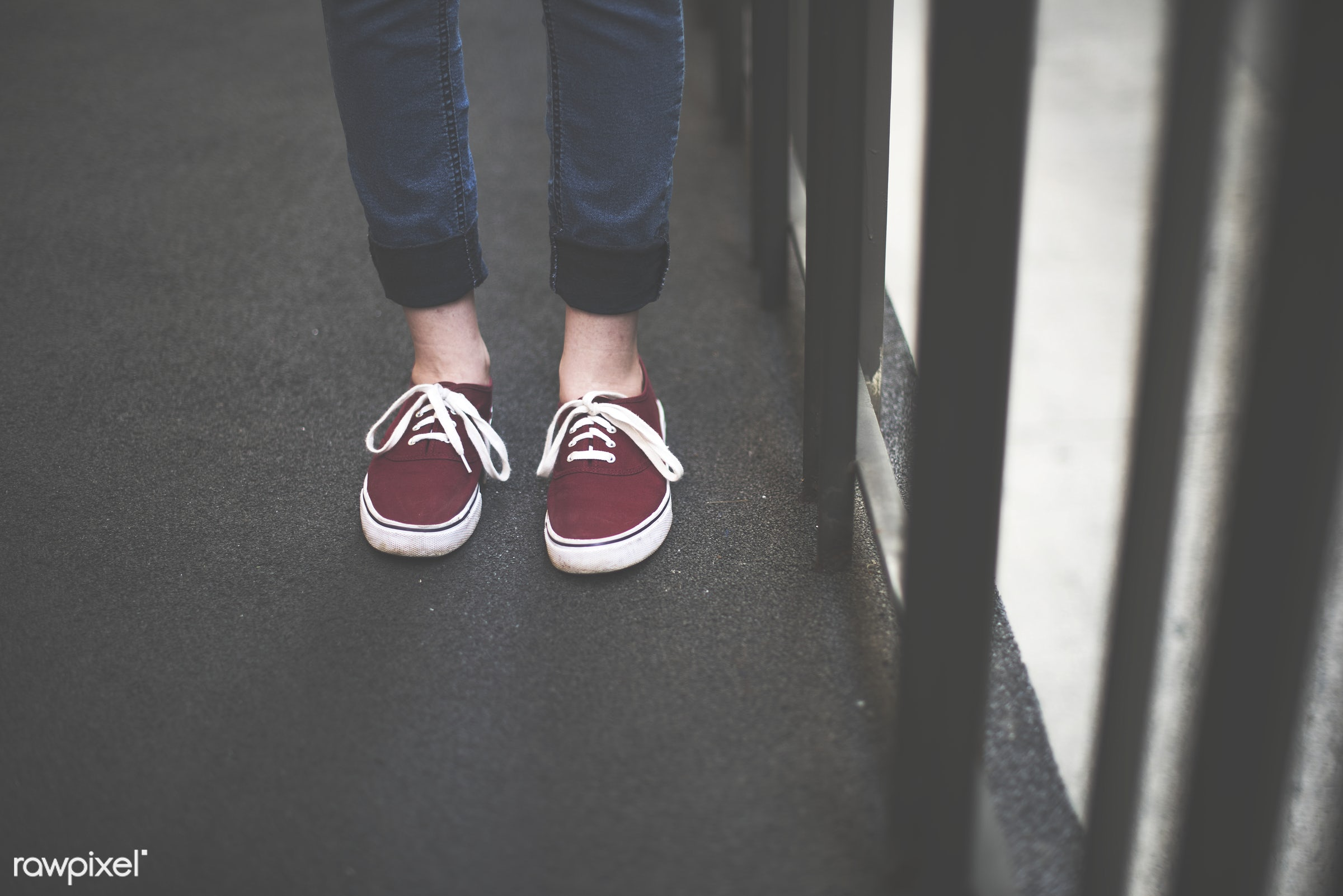 Woman in red shoes - shoes, balcony, body, canvas, canvas shoe, casual, city, city life, cool, fashionable, feet, foot,...