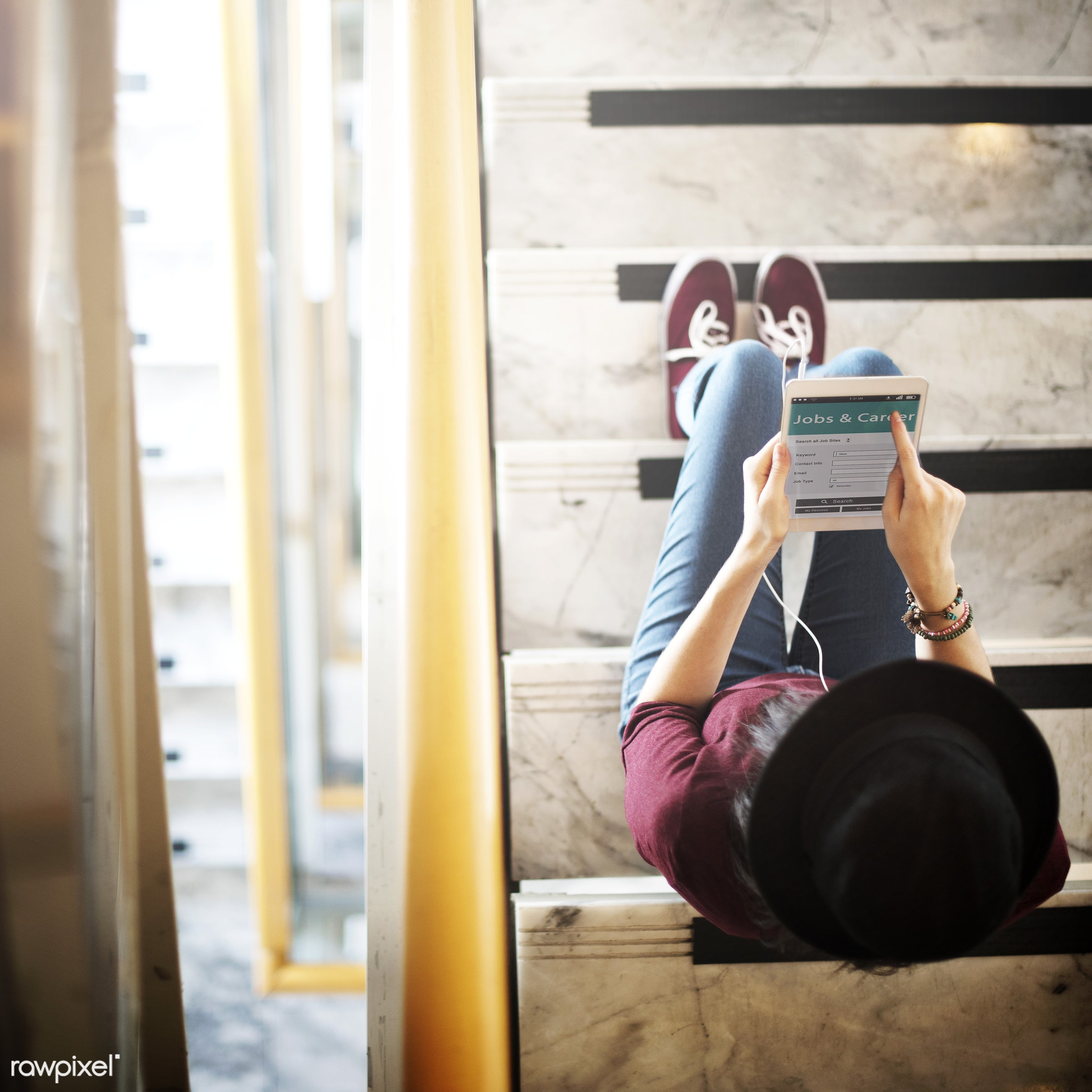 activity, aerial view, audio equipment, calm, casual, chilling, connection, content, device, digital tablet, earphones,...