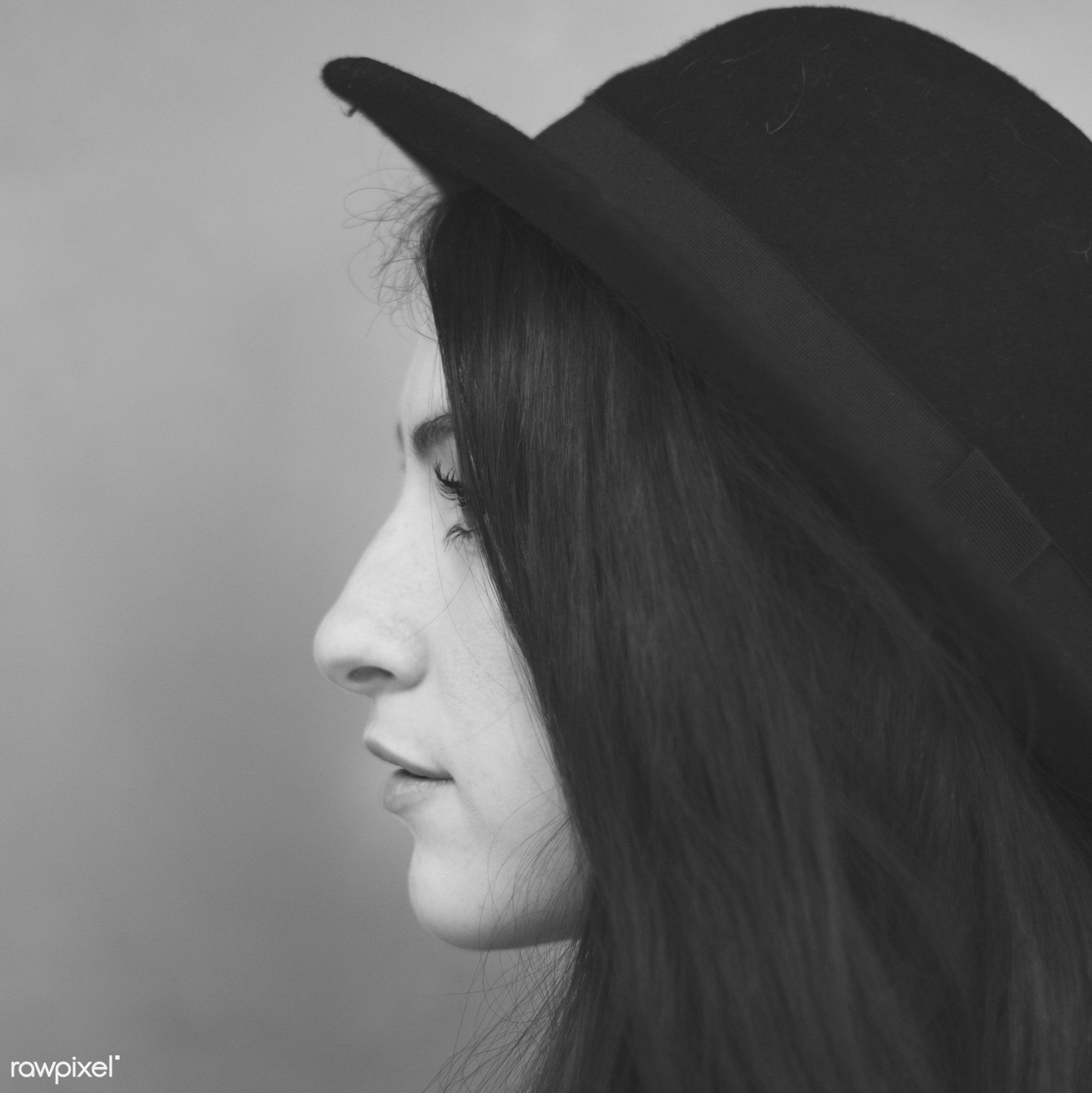 hat, white, attractive, background, beautiful, brunette, casual, concrete, fashion, fashionista, female, girl, head, lady,...