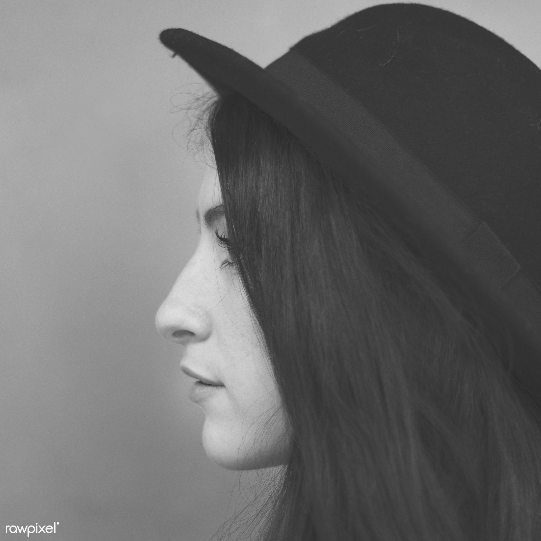 attractive, background, beautiful, brunette, casual, concrete, fashion, fashionista, female, girl, hat, head, lady,...