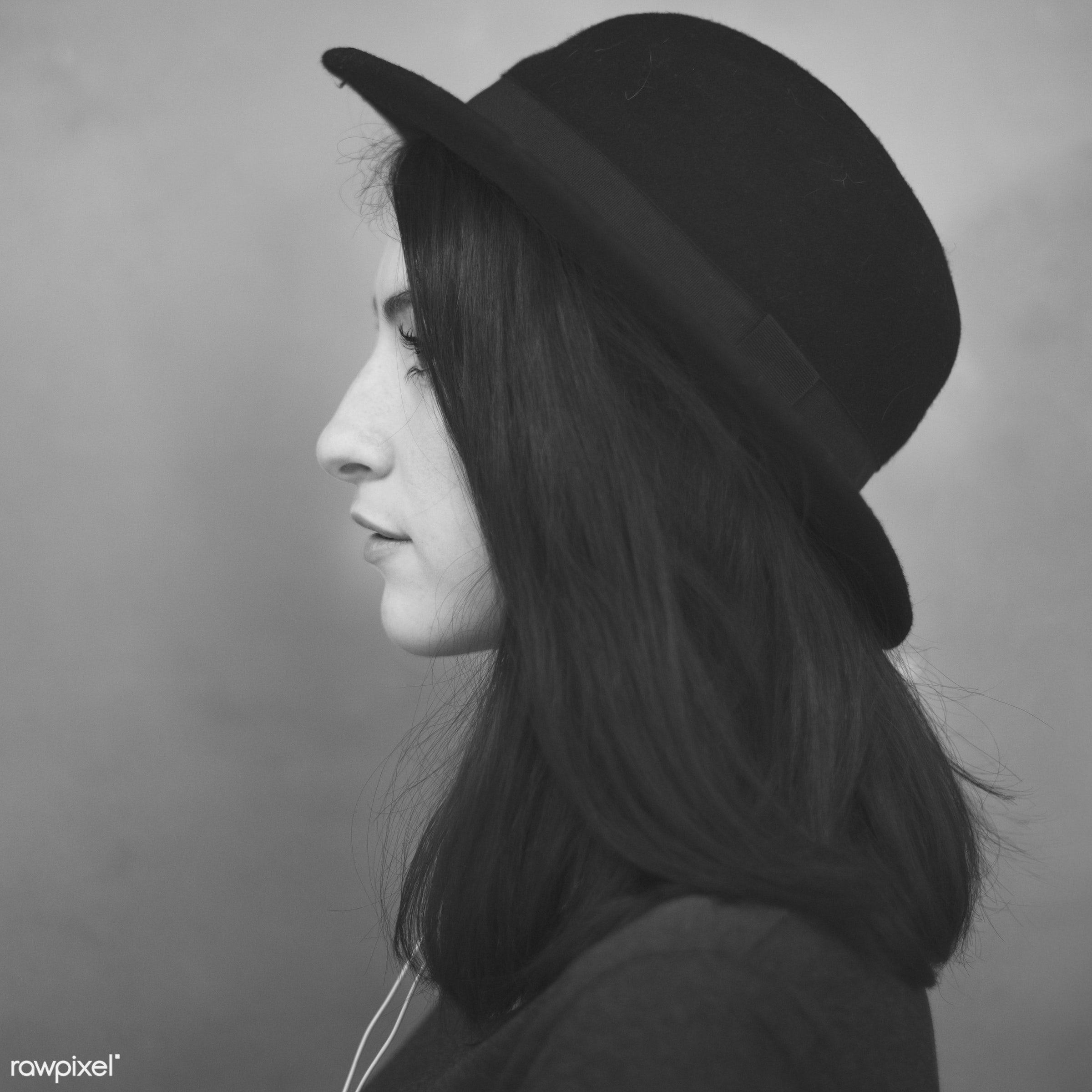 hat, white, attractive, background, beautiful, brunette, casual, concrete, fashion, fashionista, female, girl, head, lady,...