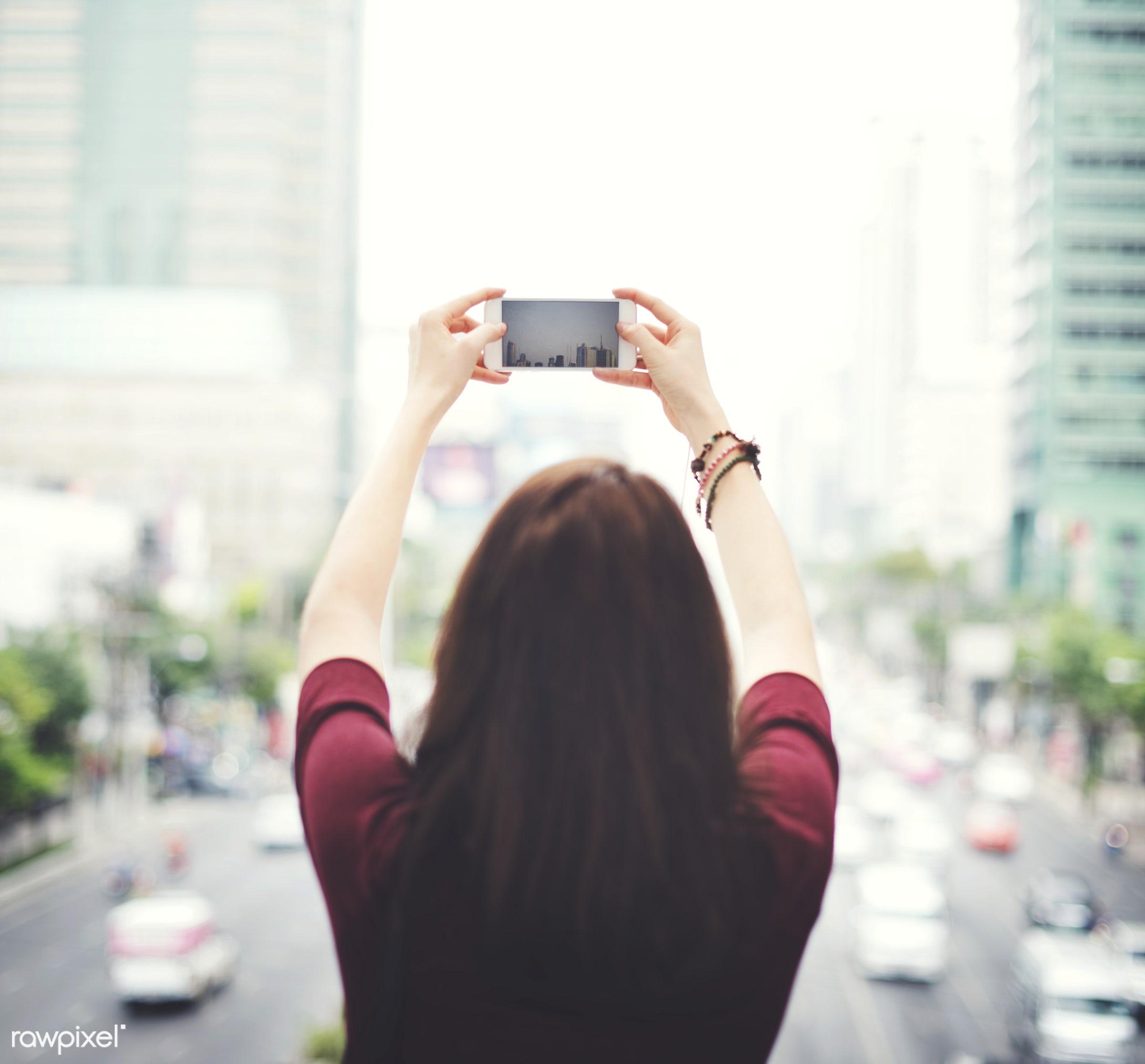 activity, building, car, casual, chilling, city, city life, cityscape, connection, enjoyment, entertainment, gadget, girl,...