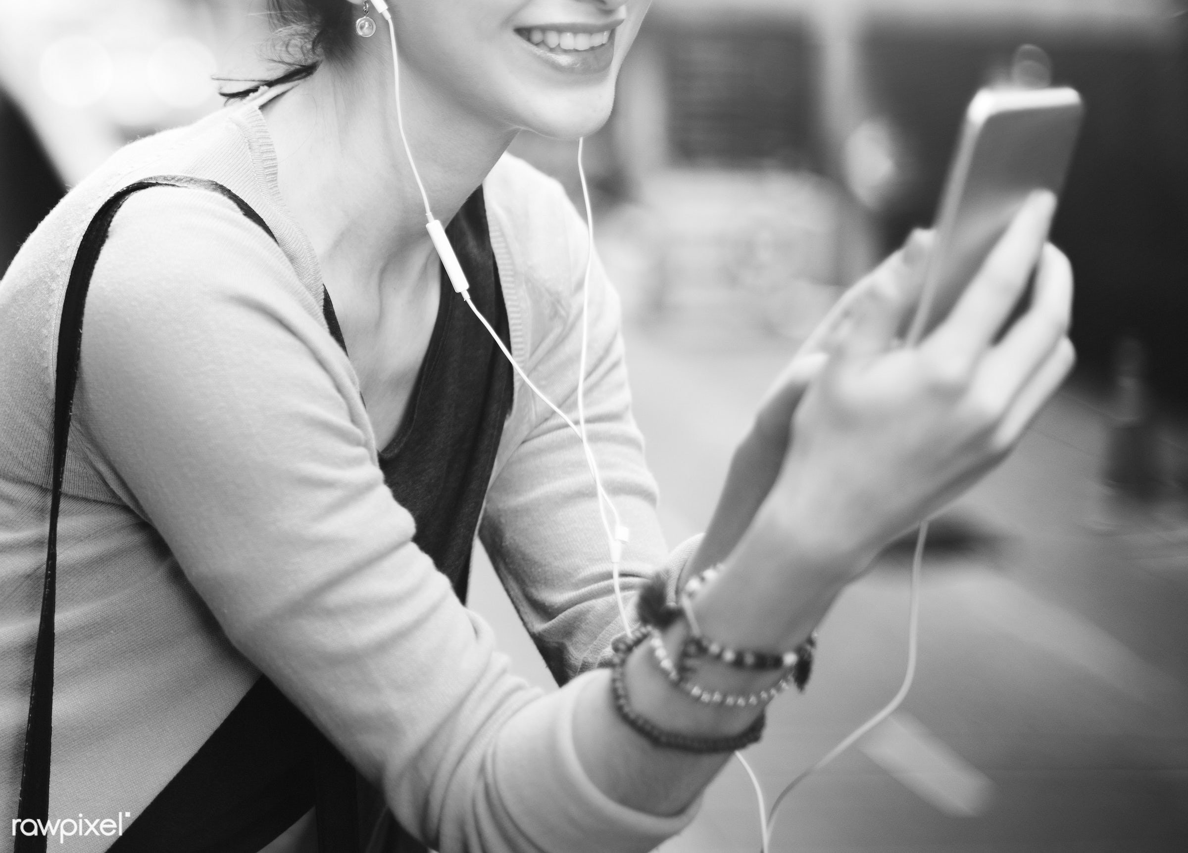 activity, audio equipment, casual, cheerful, chilling, city, connection, earphones, enjoyment, entertainment, gadget, girl,...