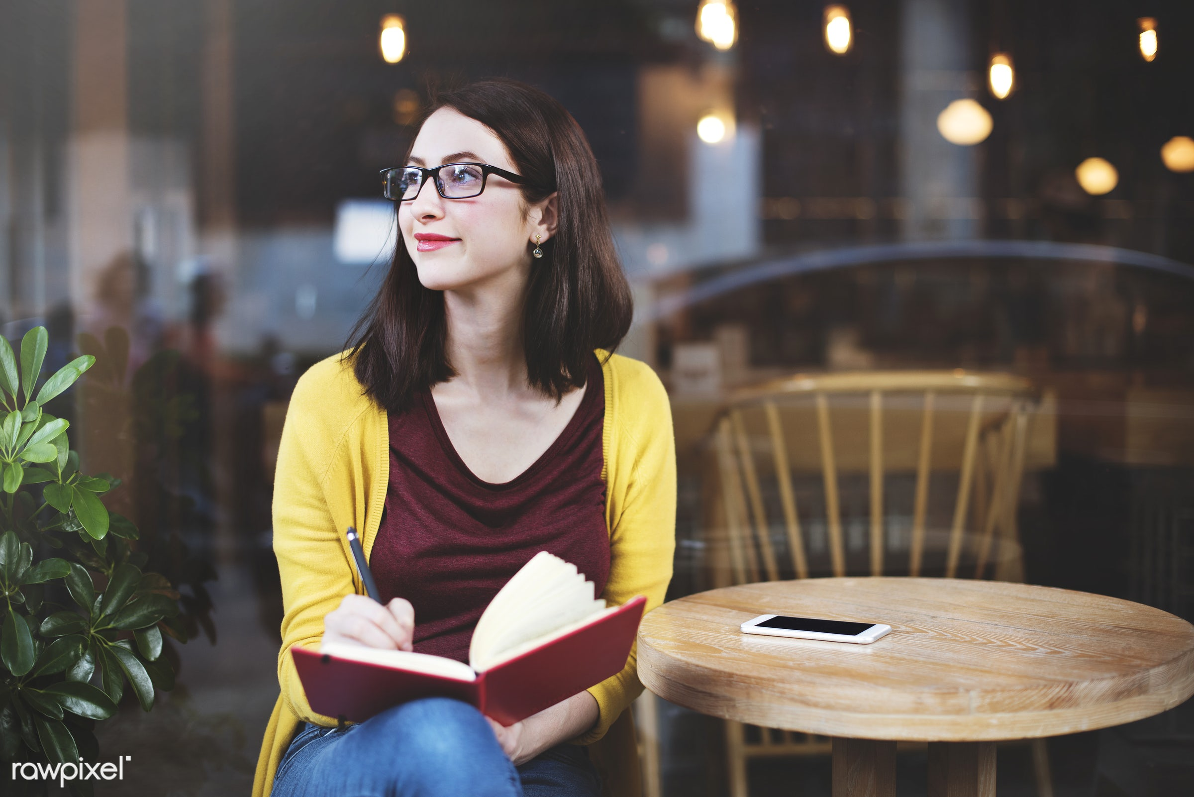 lifestyles, adult, alone, book, cafe, casual, college, communication, connection, digital device, education, girl, glasses,...
