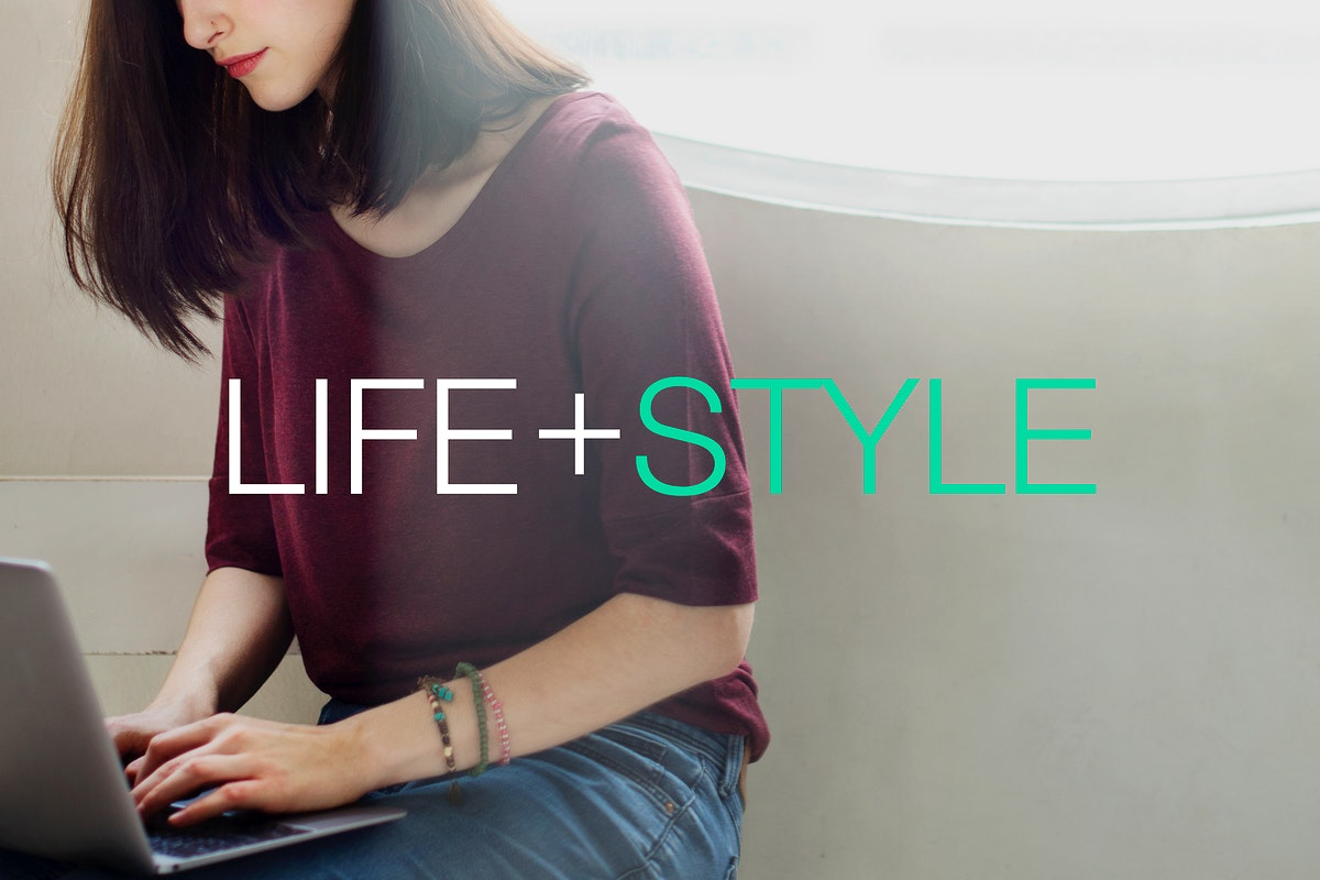 Life style word on woman using computer laptop background