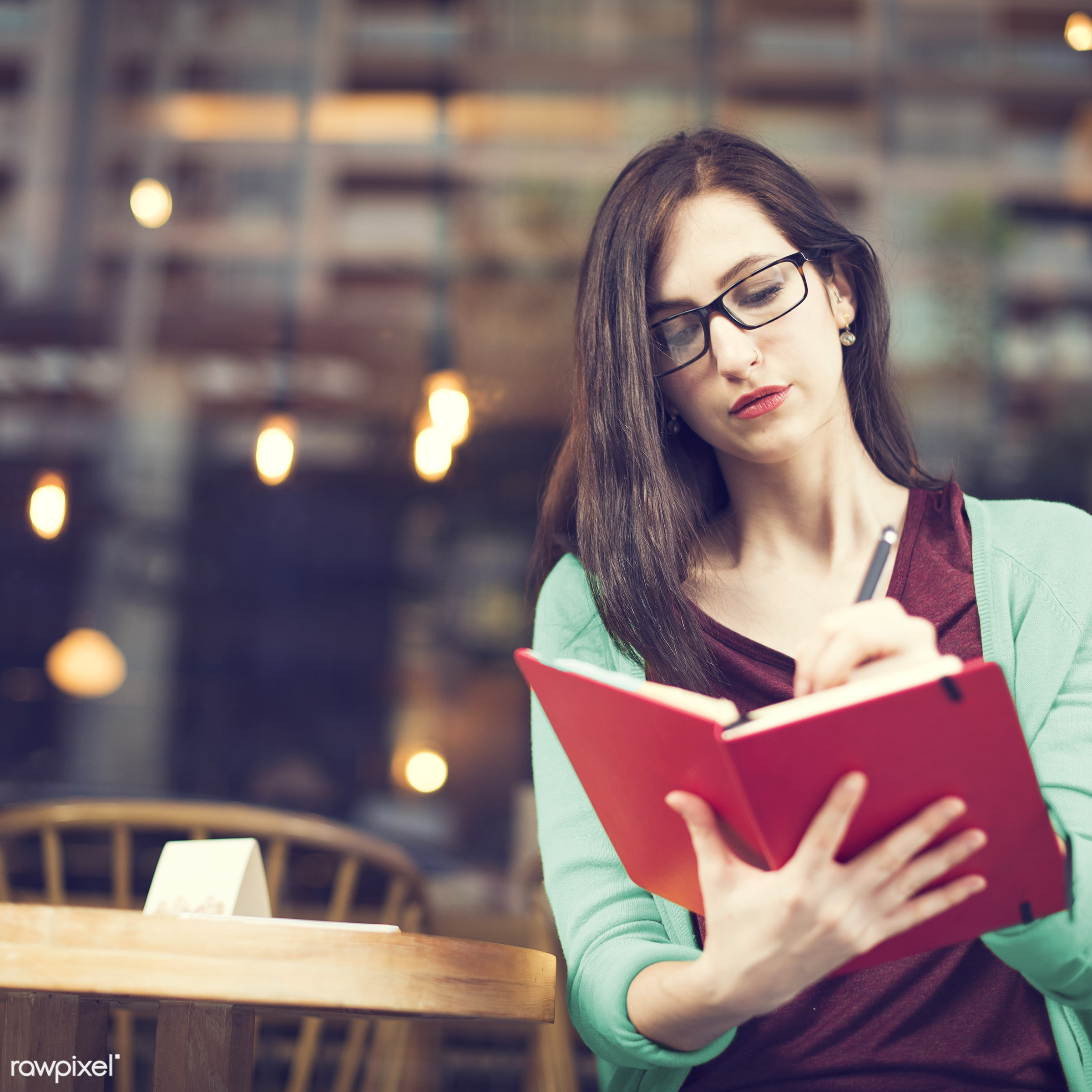 lifestyles, adult, alone, book, cafe, casual, college, communication, education, girl, glasses, hobby, knowledge, learning,...