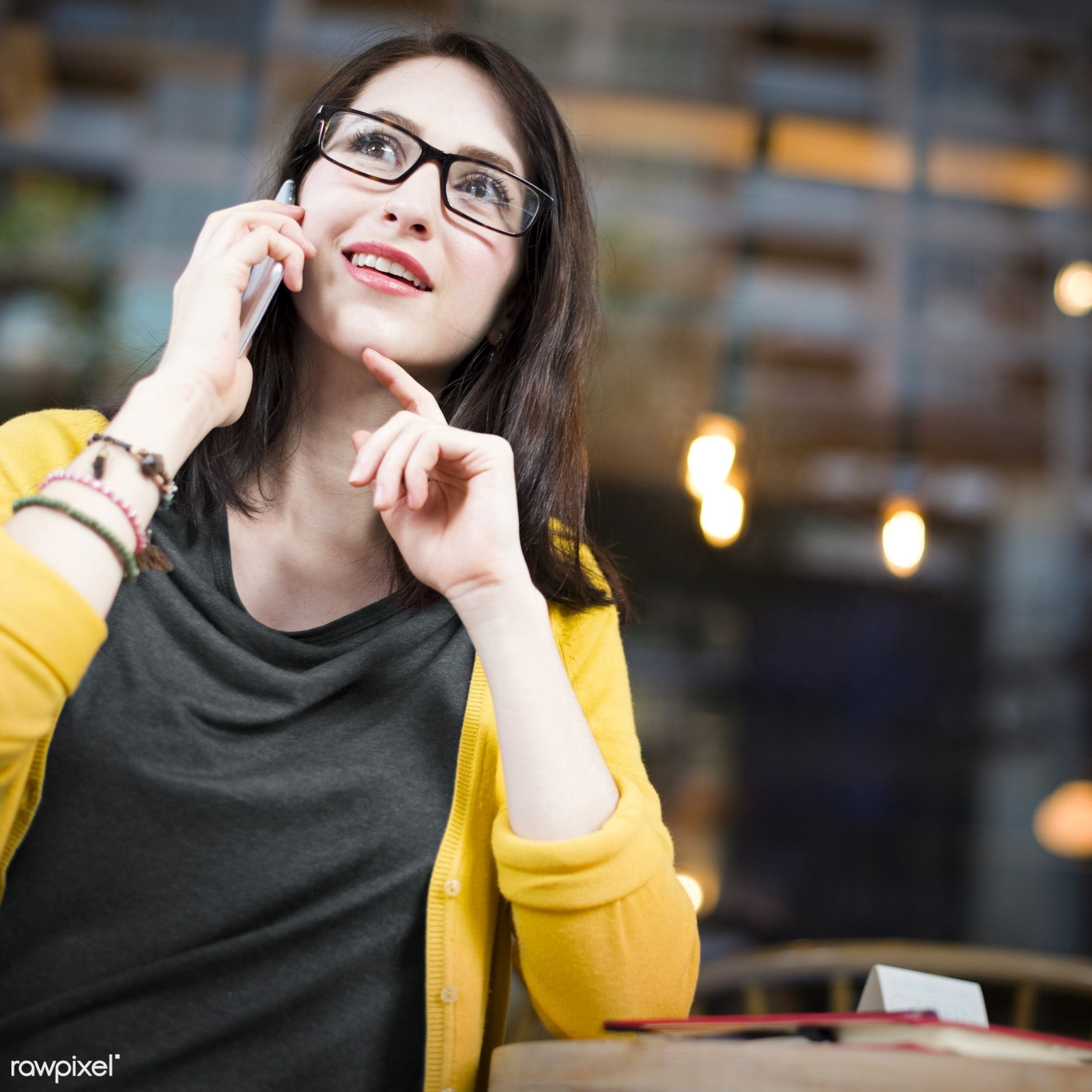 lifestyles, adult, alone, cafe, casual, college, communication, connection, digital device, education, girl, glasses, global...