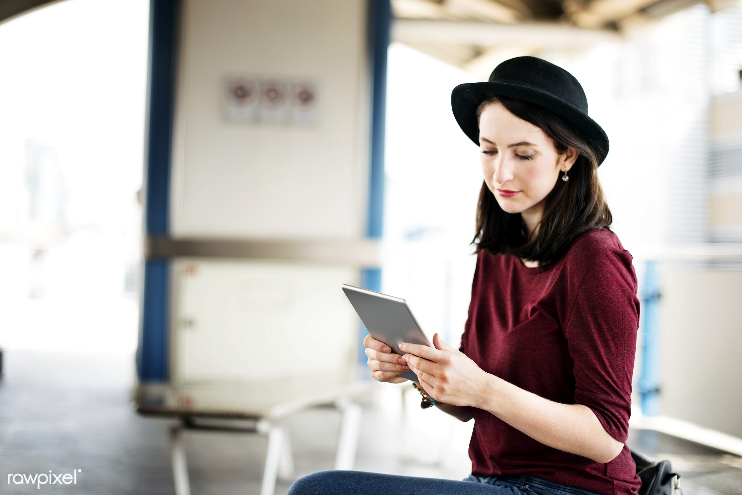 casual, city, city life, commuter, connection, destination, device, digital tablet, girl, holding, information, internet,...