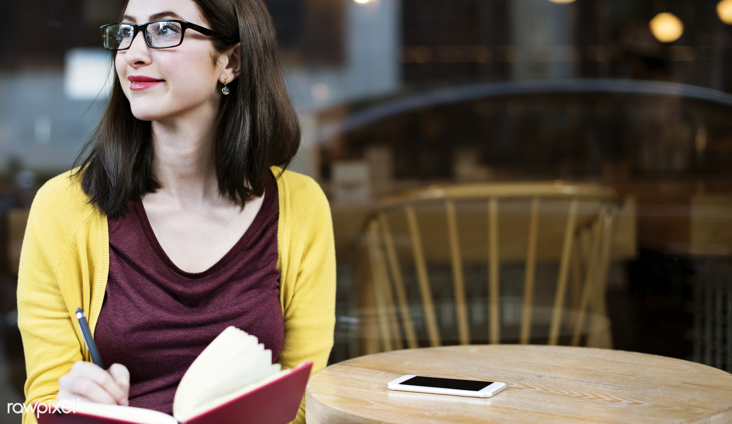 adult, alone, book, cafe, casual, college, communication, connection, digital device, education, girl, glasses, global...