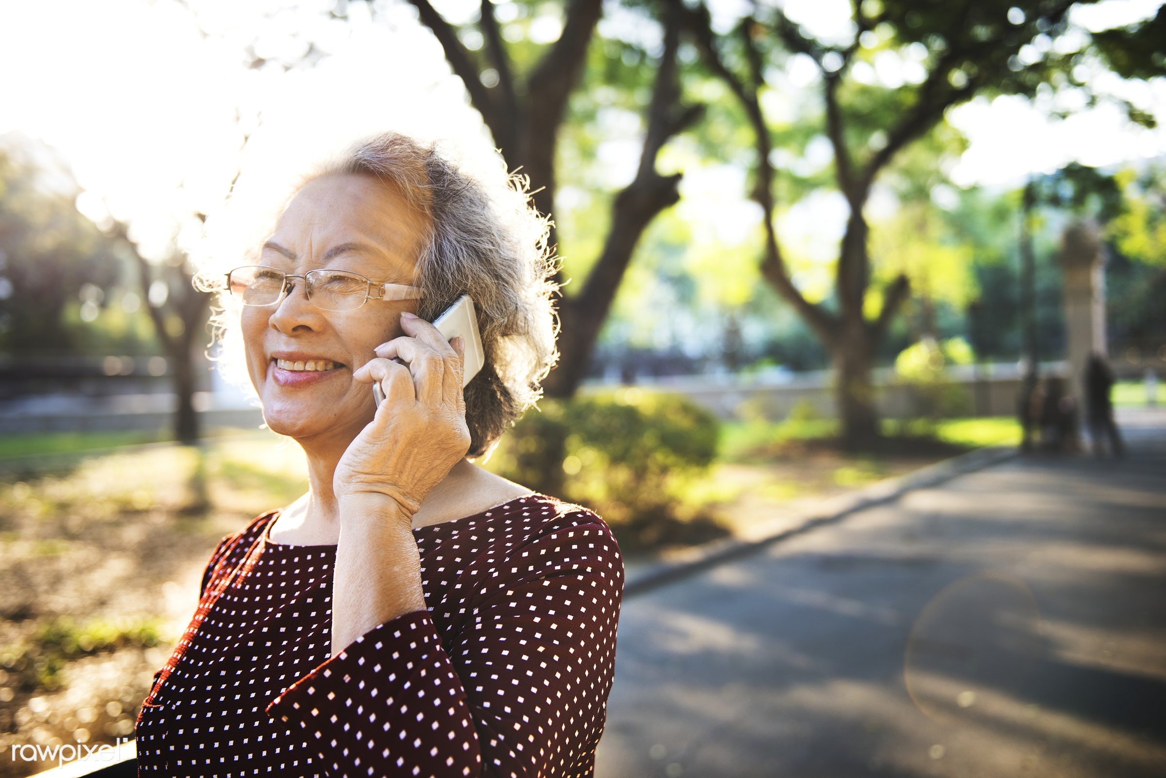 Lifestyle of a senior Asian woman - activity, adult, cafe, casual, cheerful, close up, connect, connecting, connection, data...