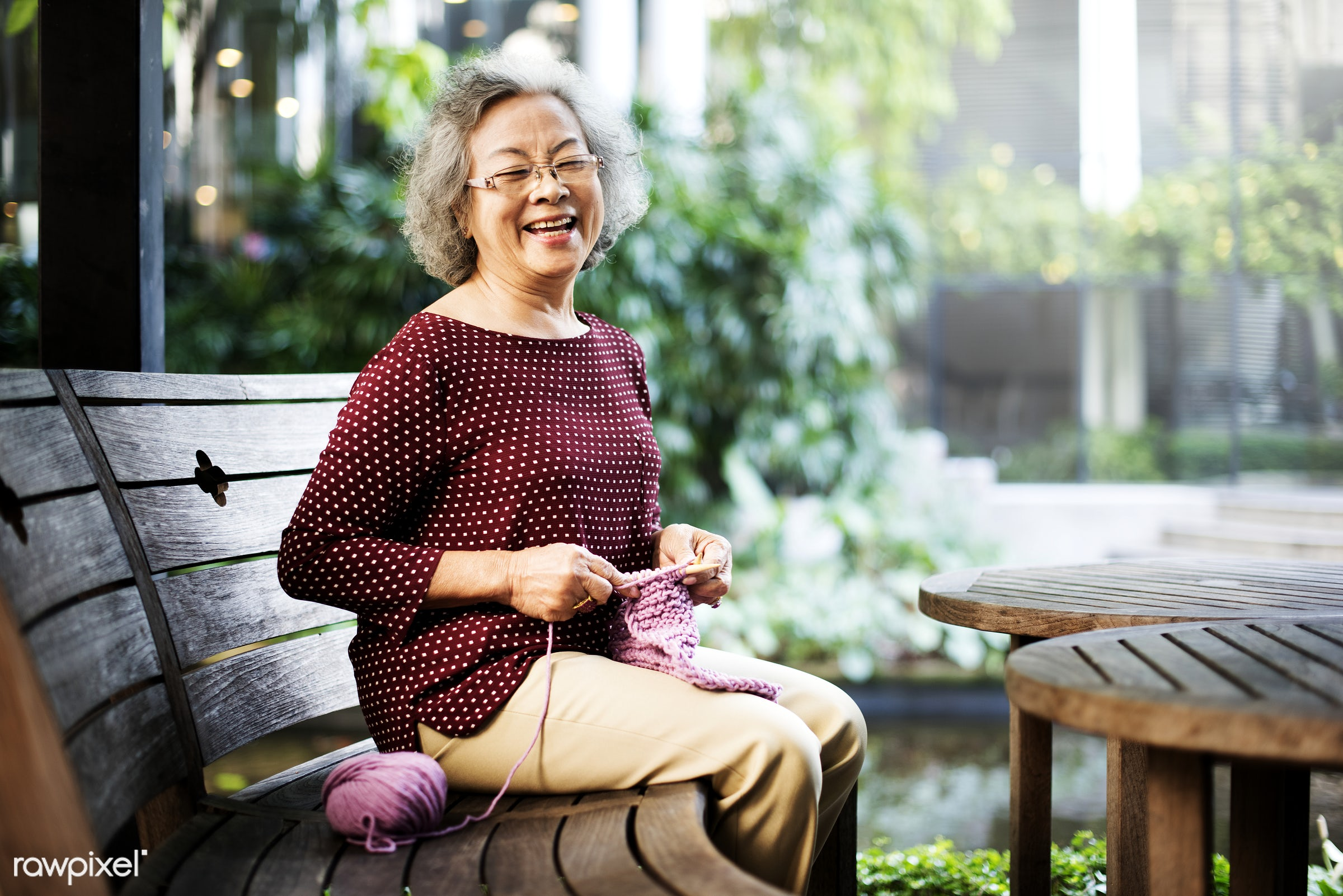 Life style of a senior Asian woman - activity, adult, cafe, casual, cheerful, close up, craft, day, female, handmade, happy...