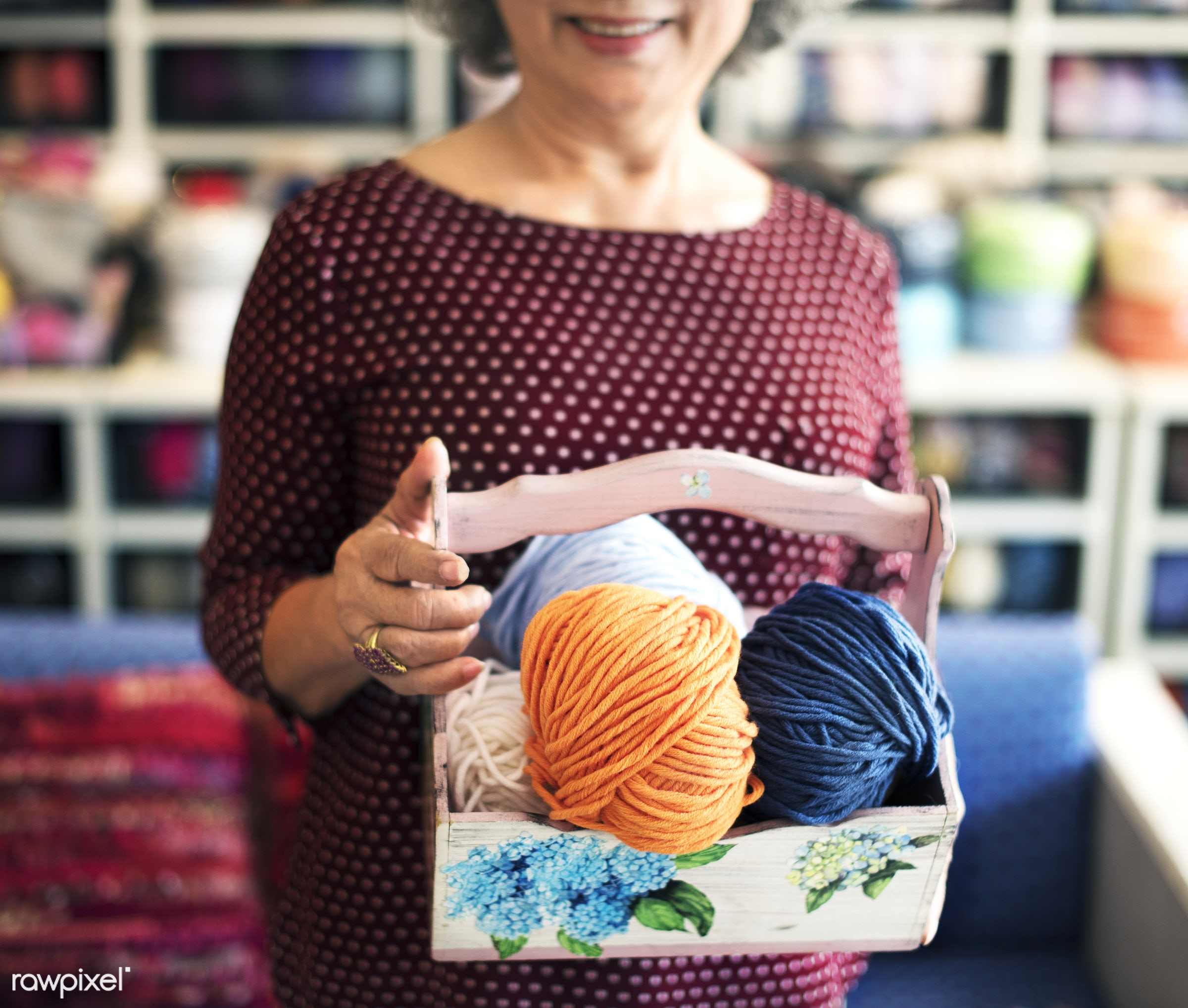 Lifestyle of a senior Asian woman - craft, senior, work, handmade, activity, adult, asian, cafe, casual, cheerful, close up...