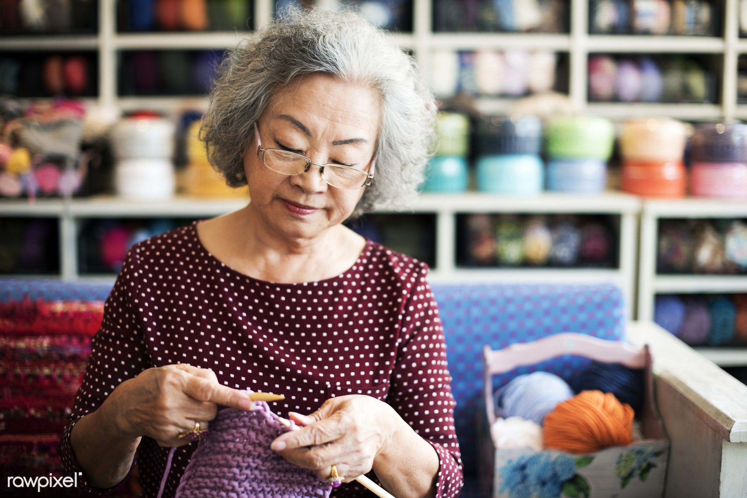 Lifestyle of a senior Asian woman - portrait, cafe, activity, adult, asian, casual, cheerful, close up, craft, day, female,...