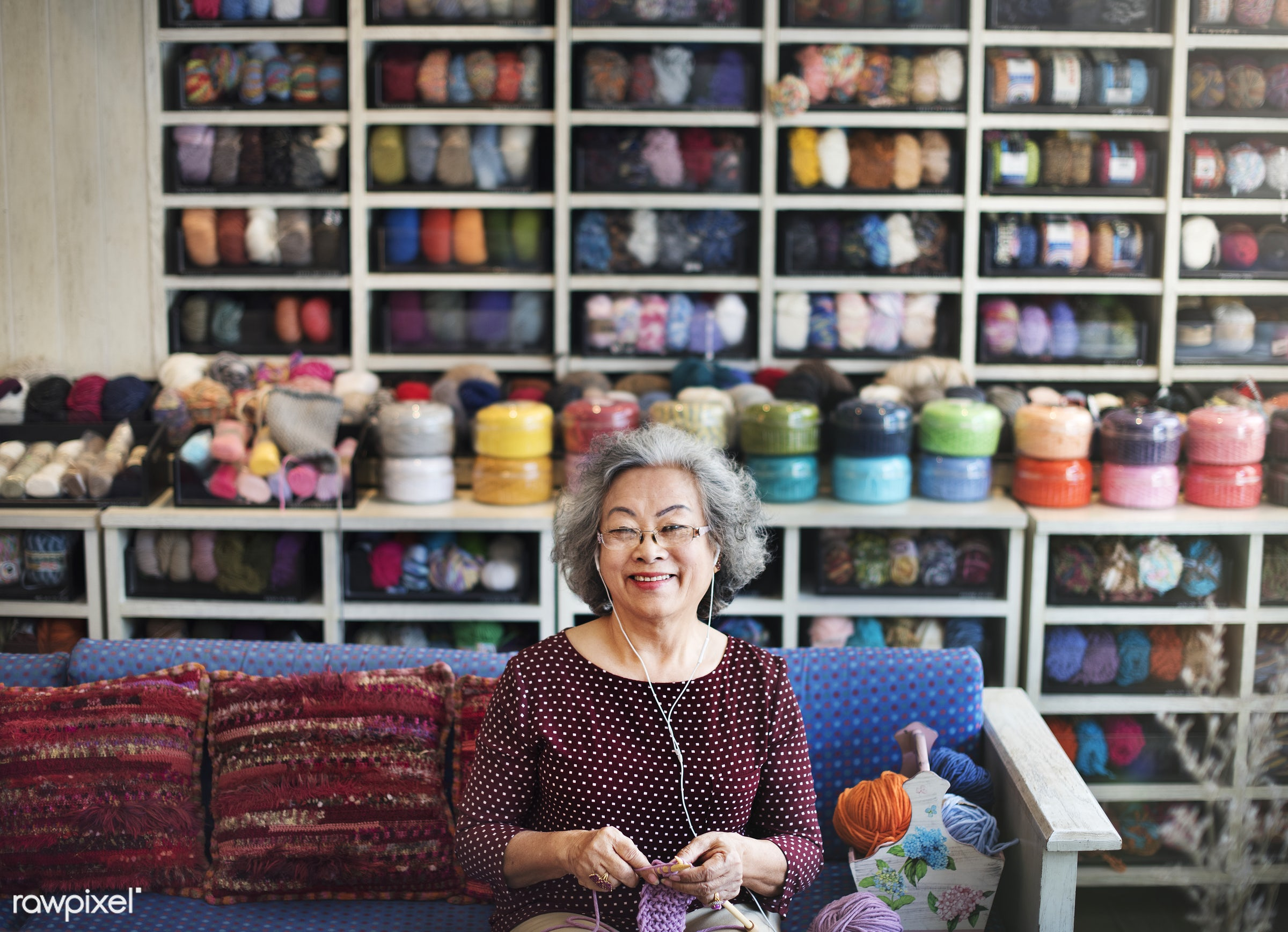 Lifestyle of a senior Asian woman - yarn, activity, adult, asian, cafe, casual, cheerful, close up, craft, day, female,...